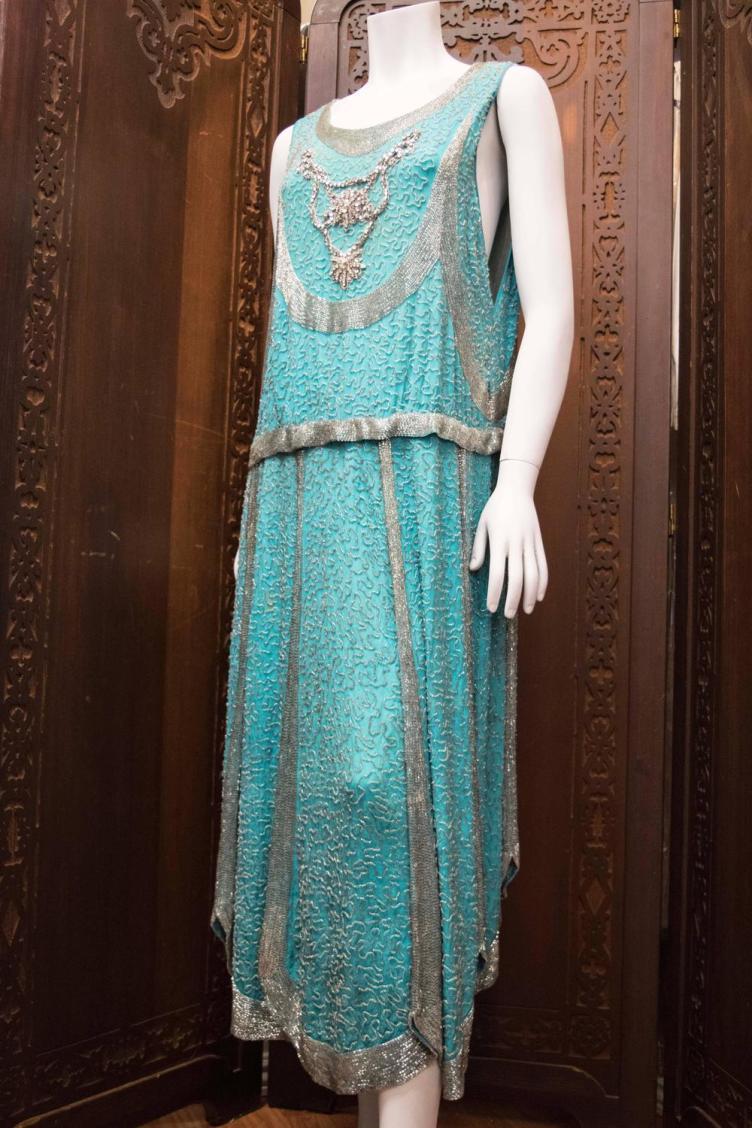 1920s Beaded Aqua Flapper Dress For Sale at 1stdibs