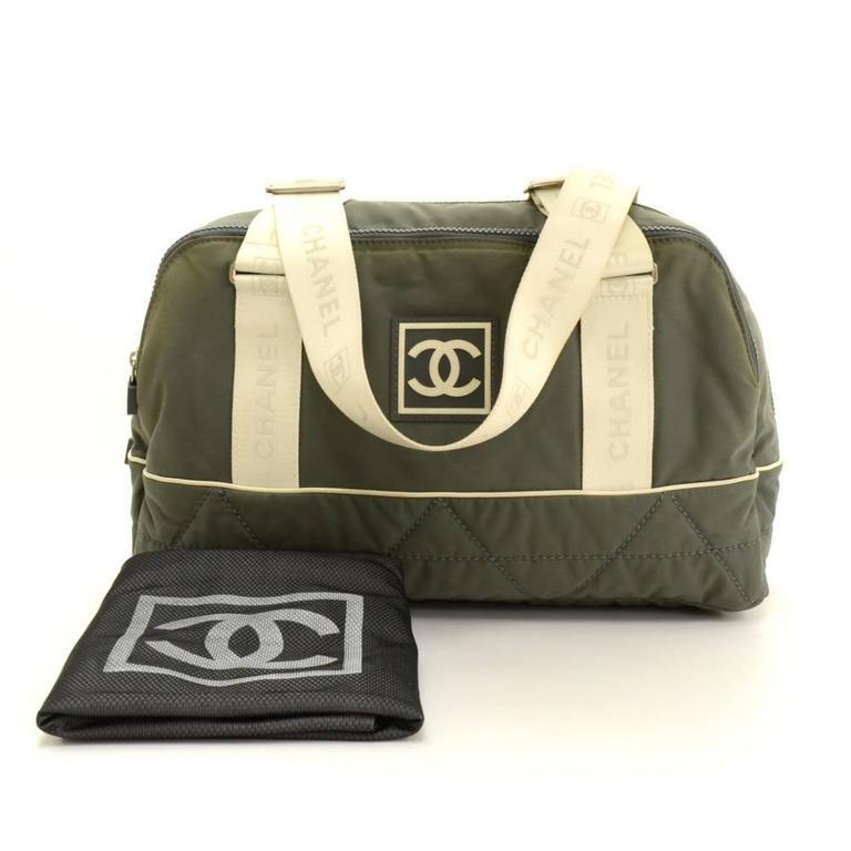 Chanel Sports Line Gray Nylon Large Boston Bag At 1stdibs