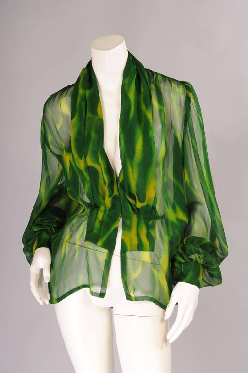 Givenchy Haute Couture Sheer Patterned Silk Chiffon Blouse For Sale At 1stdibs