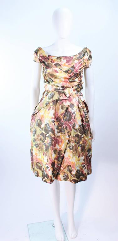 Vintage 1950s Earth Tone Cocktail Dress With Watercolor
