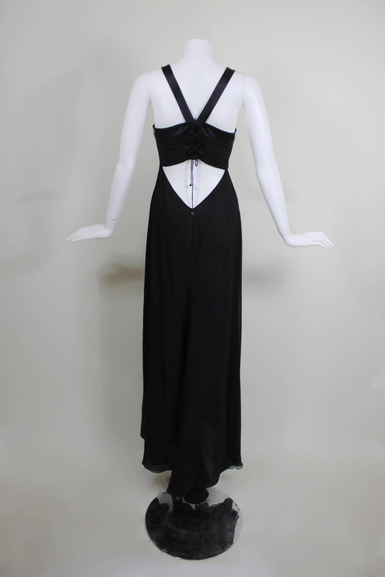 Black And White Drop Waist Evening Gowns