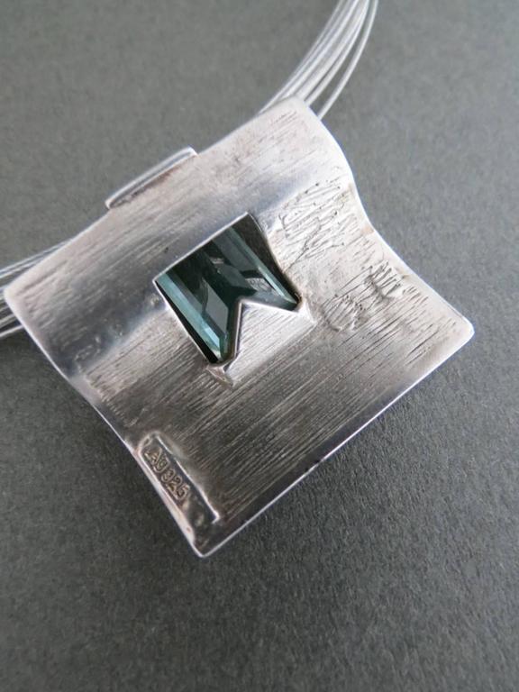 Danish Silver Topaz Modernist Mid Century Pendant Necklace