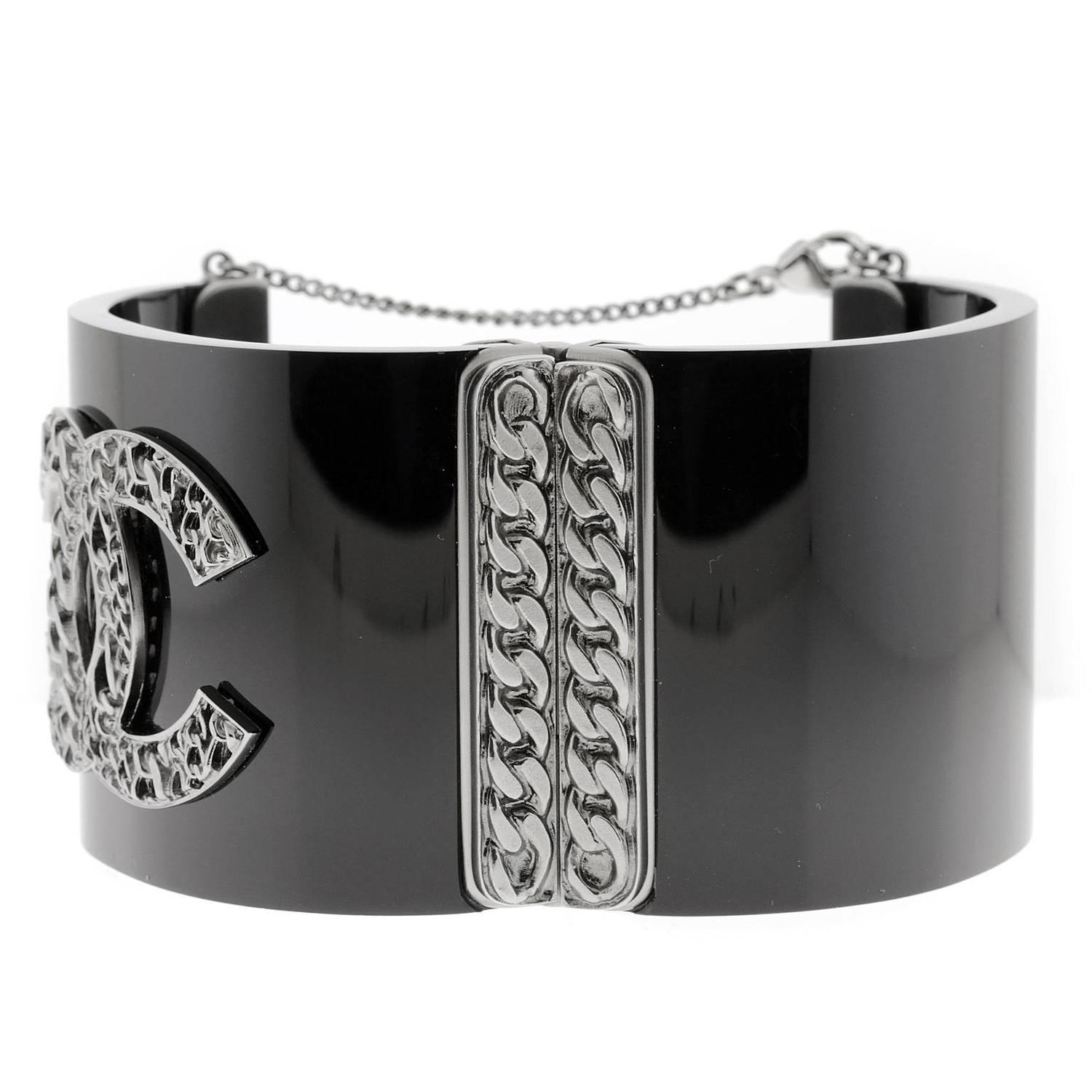 Chanel Black Resin Hinged Cuff Bracelet At 1stdibs
