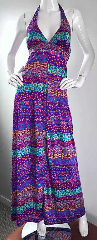Amazing 1970s Vintage Bright Colored Flower Power 70s