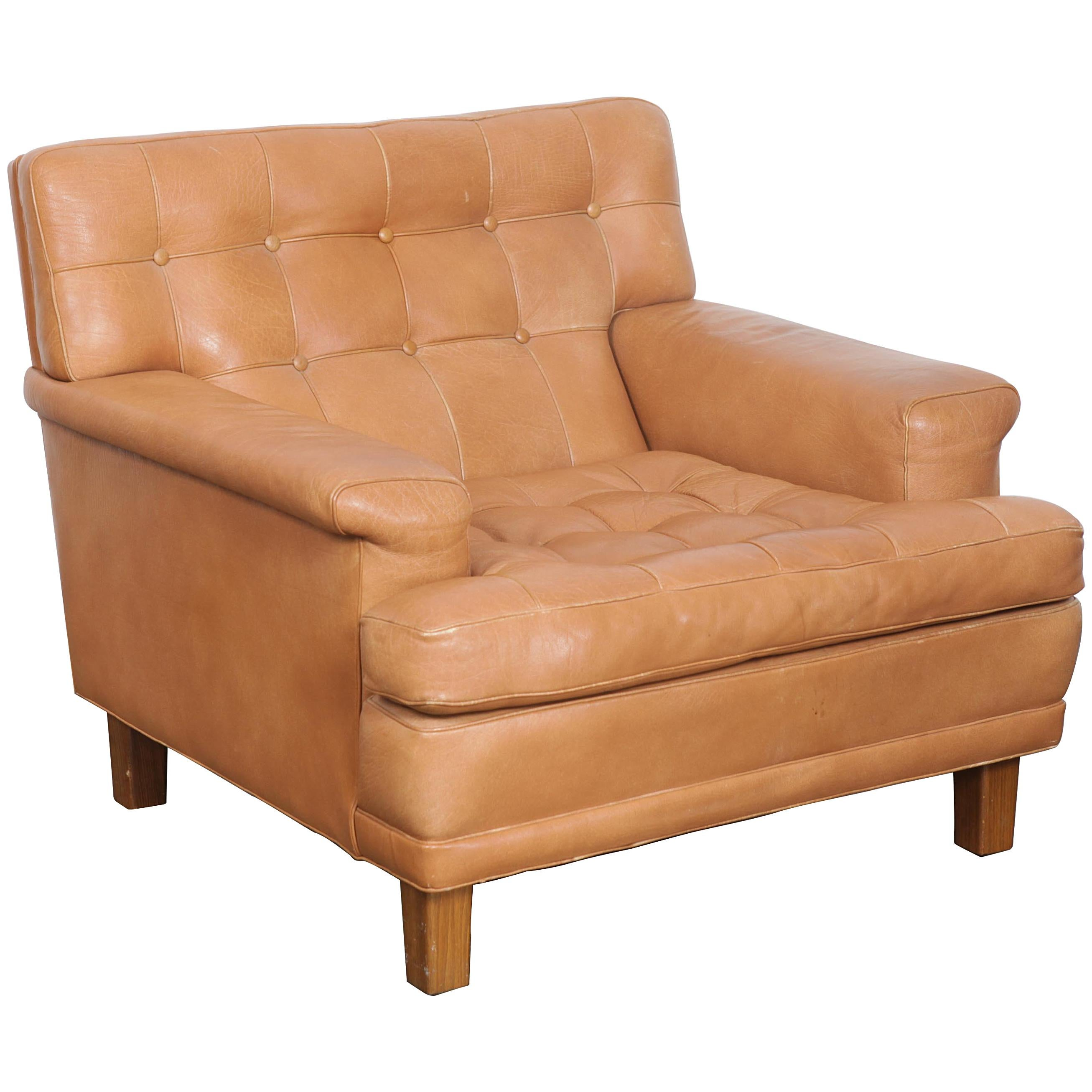 Arne Norell Merkur Tan Leather Tufted Lounge Chair Sweden