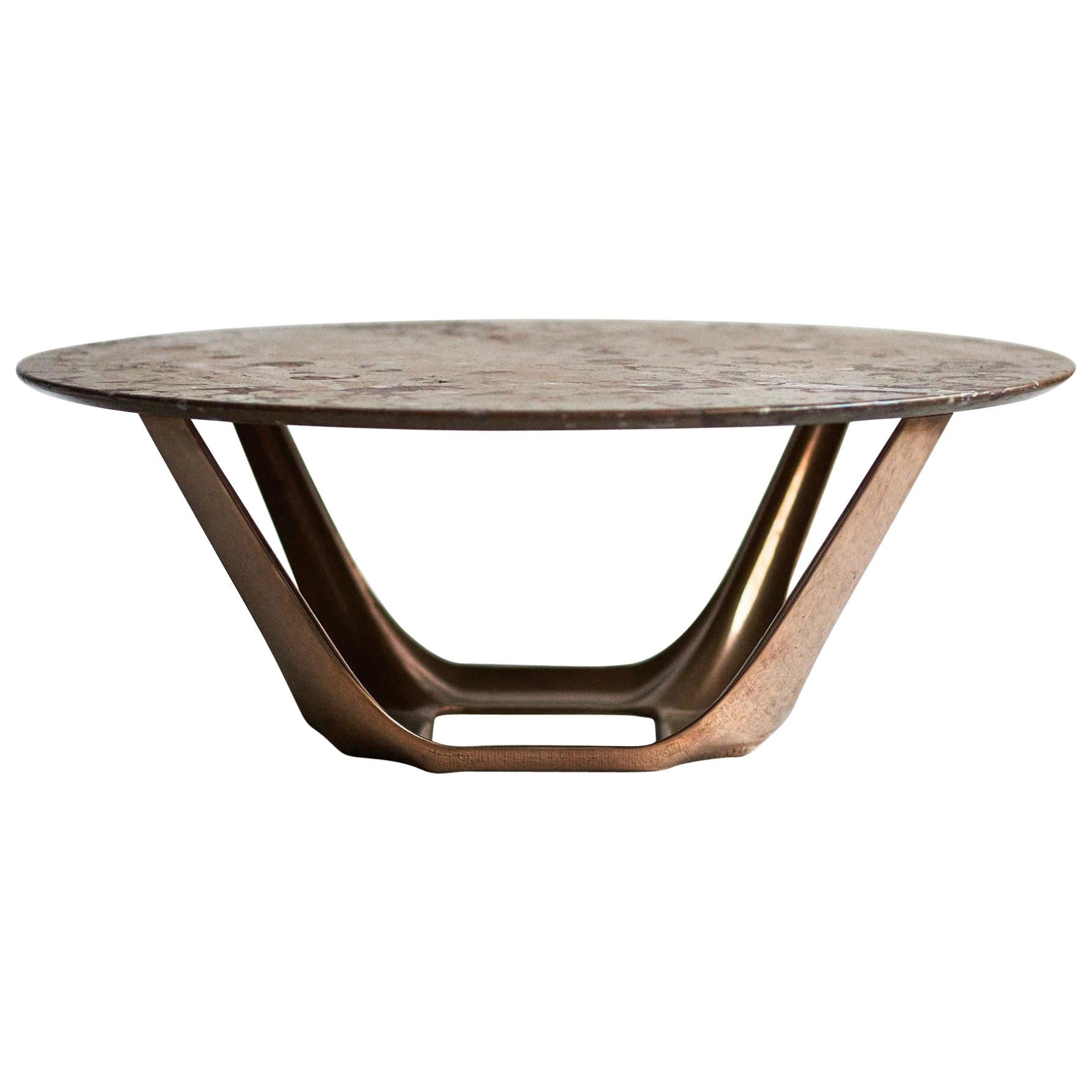 barbera heron round coffee table modern solid bronze base with stone top
