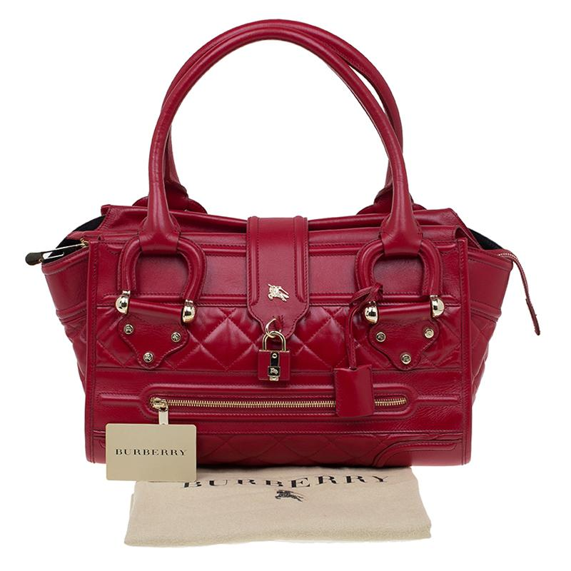 Burberry Red Quilted Leather Manor Satchel For Sale At 1stdibs
