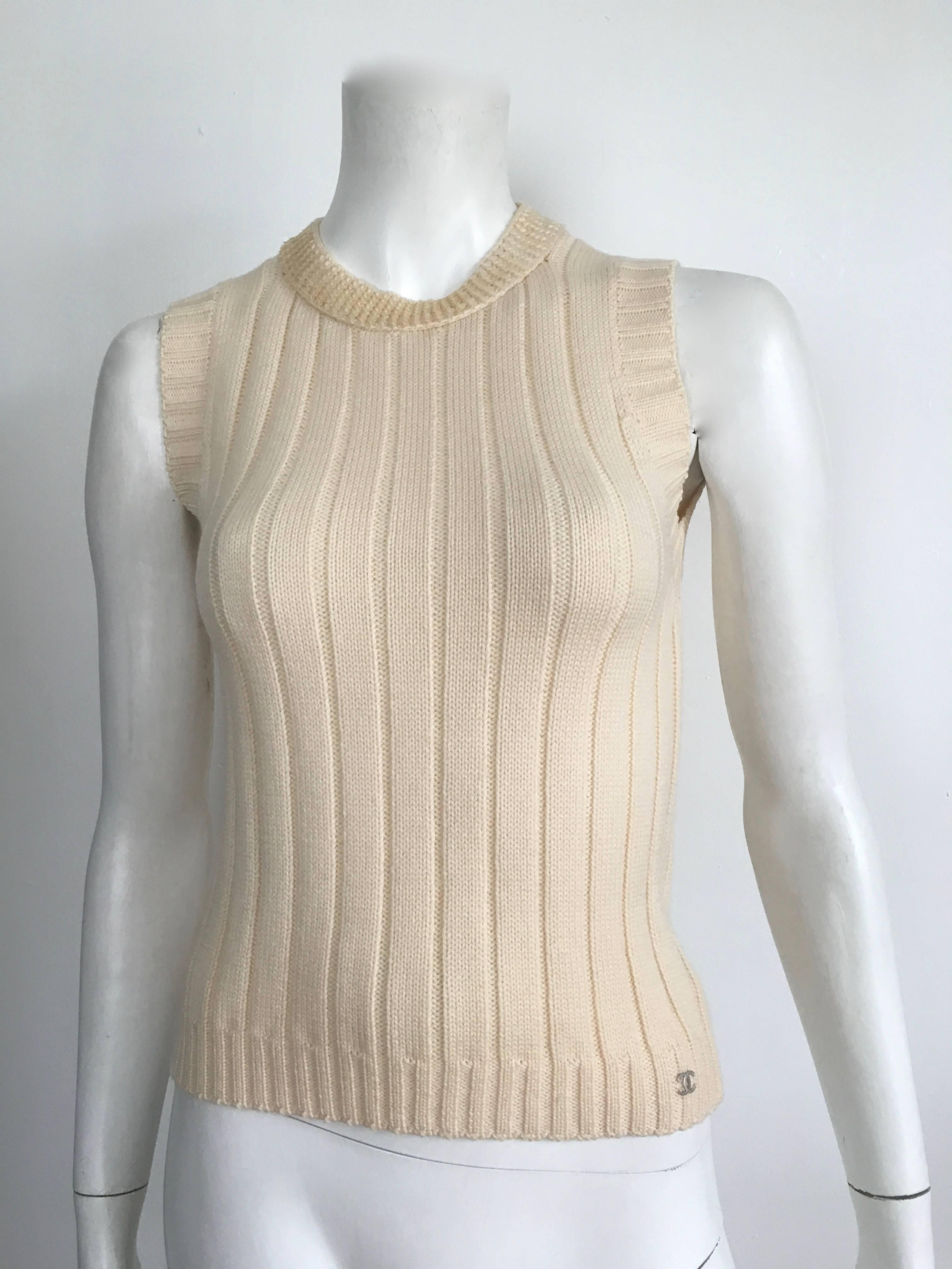 Chanel Wool Cream Knit Sequin Tank And Cardigan Set Size 4