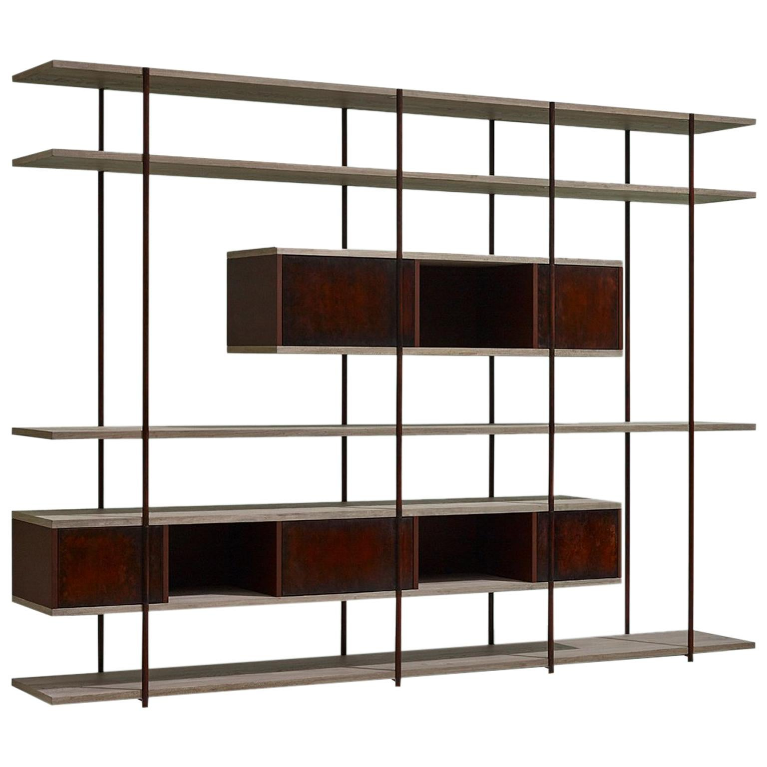 Contemporary Bookcase C Etched Brass Pivoting Doors And Stone Elm Shelves