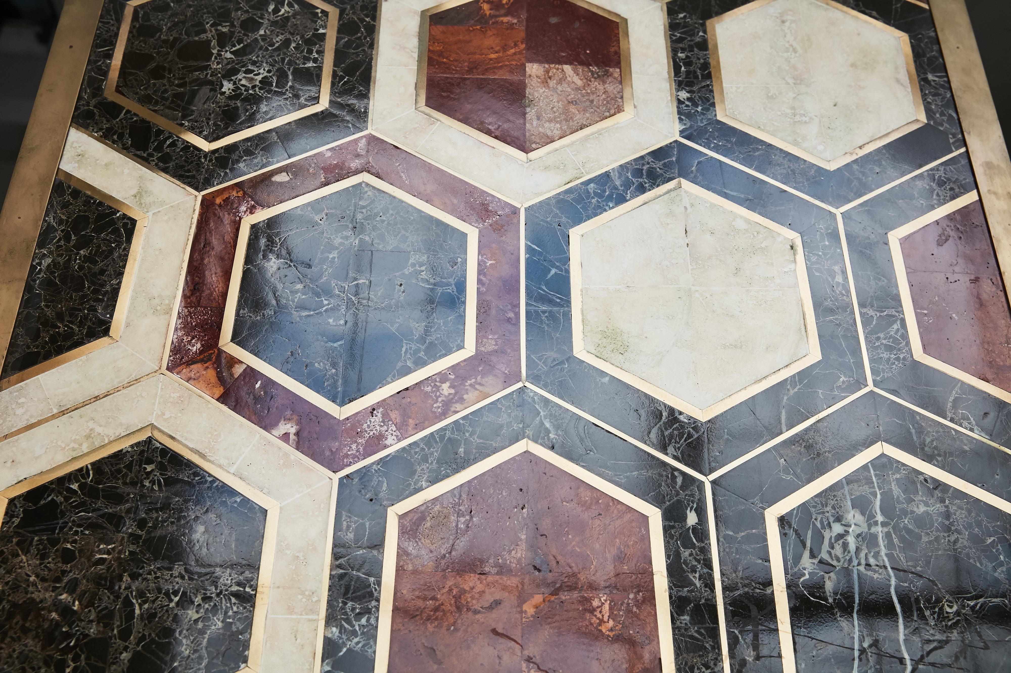 custom marble and brass geometric screen from viceroy miami