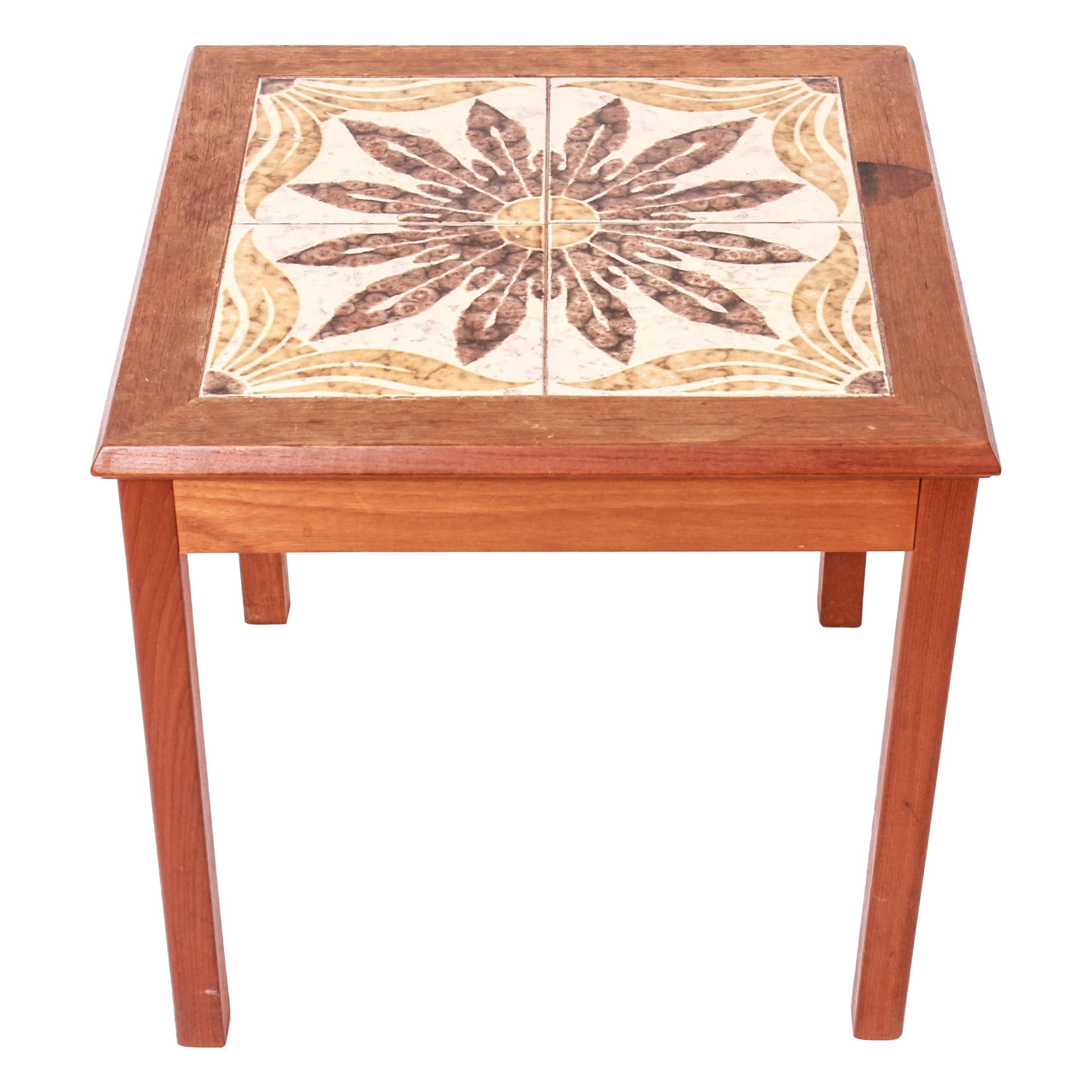 danish scandinavian modern side table with tiled top