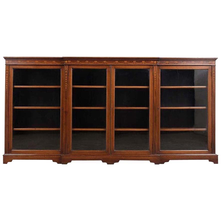 English 19th Century Four Doors Inlaid Mahogany Bookcase