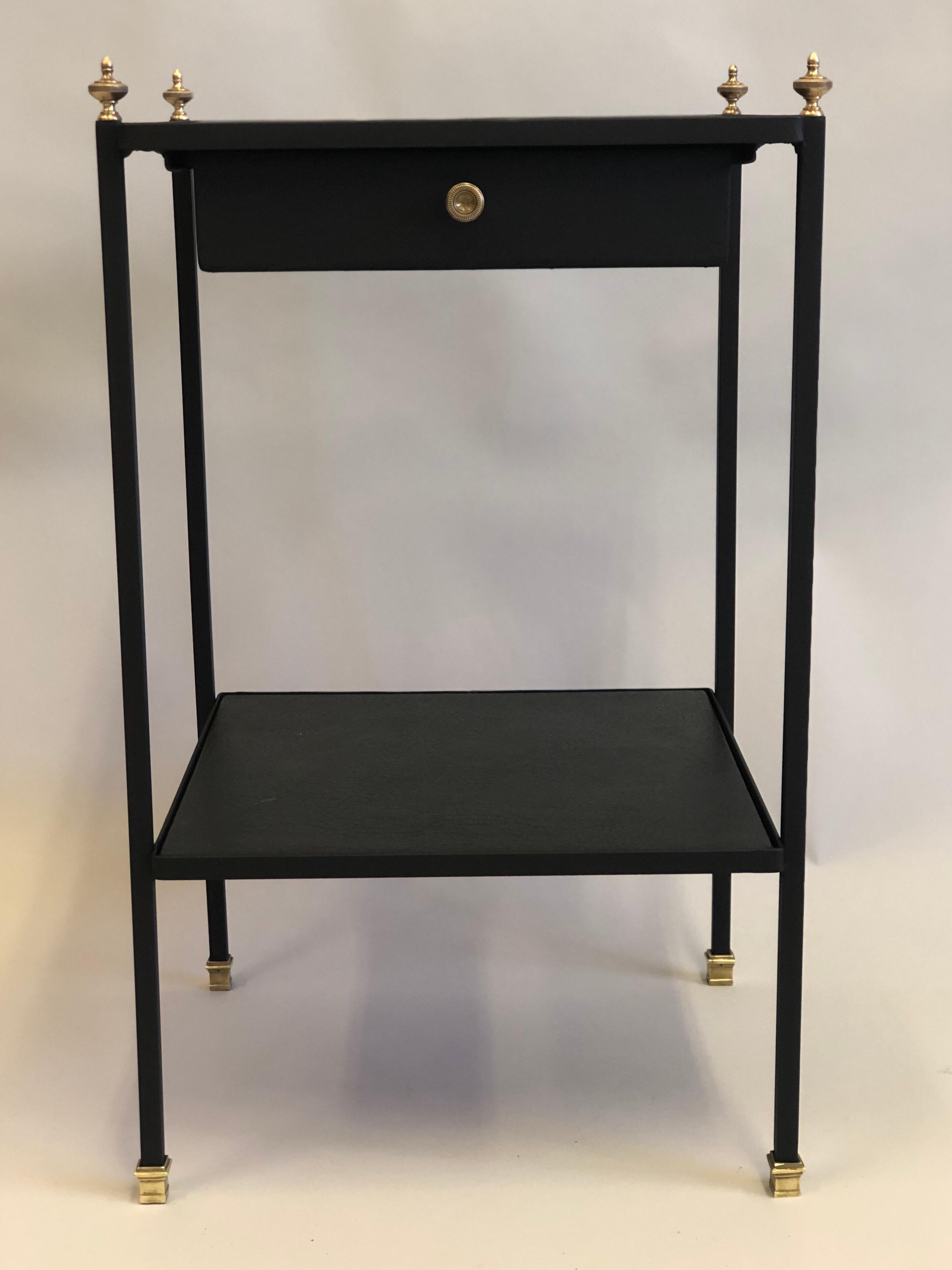 French Modern Neoclassical Iron Leather Side Table Nightstand By Jacques Adnet