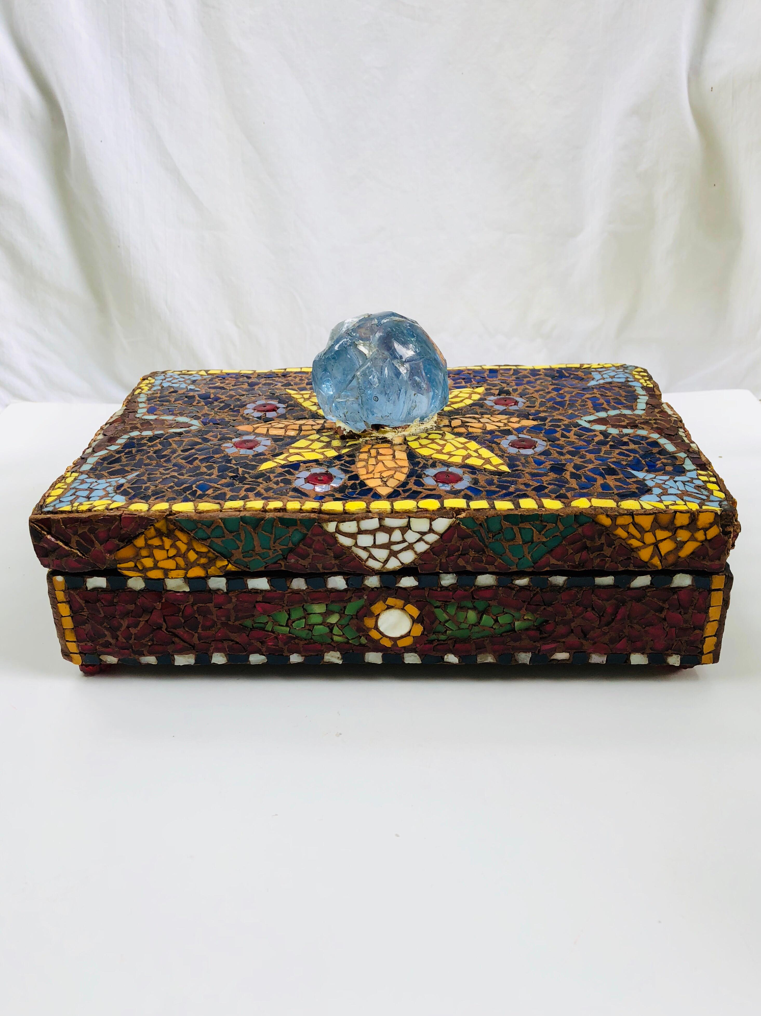pique assiette french mosaic rectangular box with an enormous piece of blue translucent glass on the