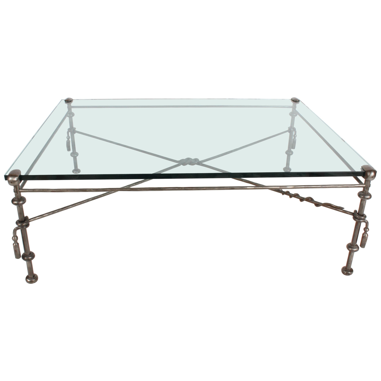 giacometti style wrought iron glass coffee table