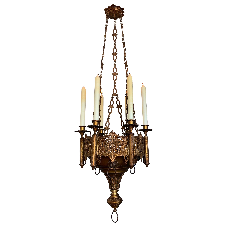 gothic revival fine bronze brass church chandelier six candle lamp pendant
