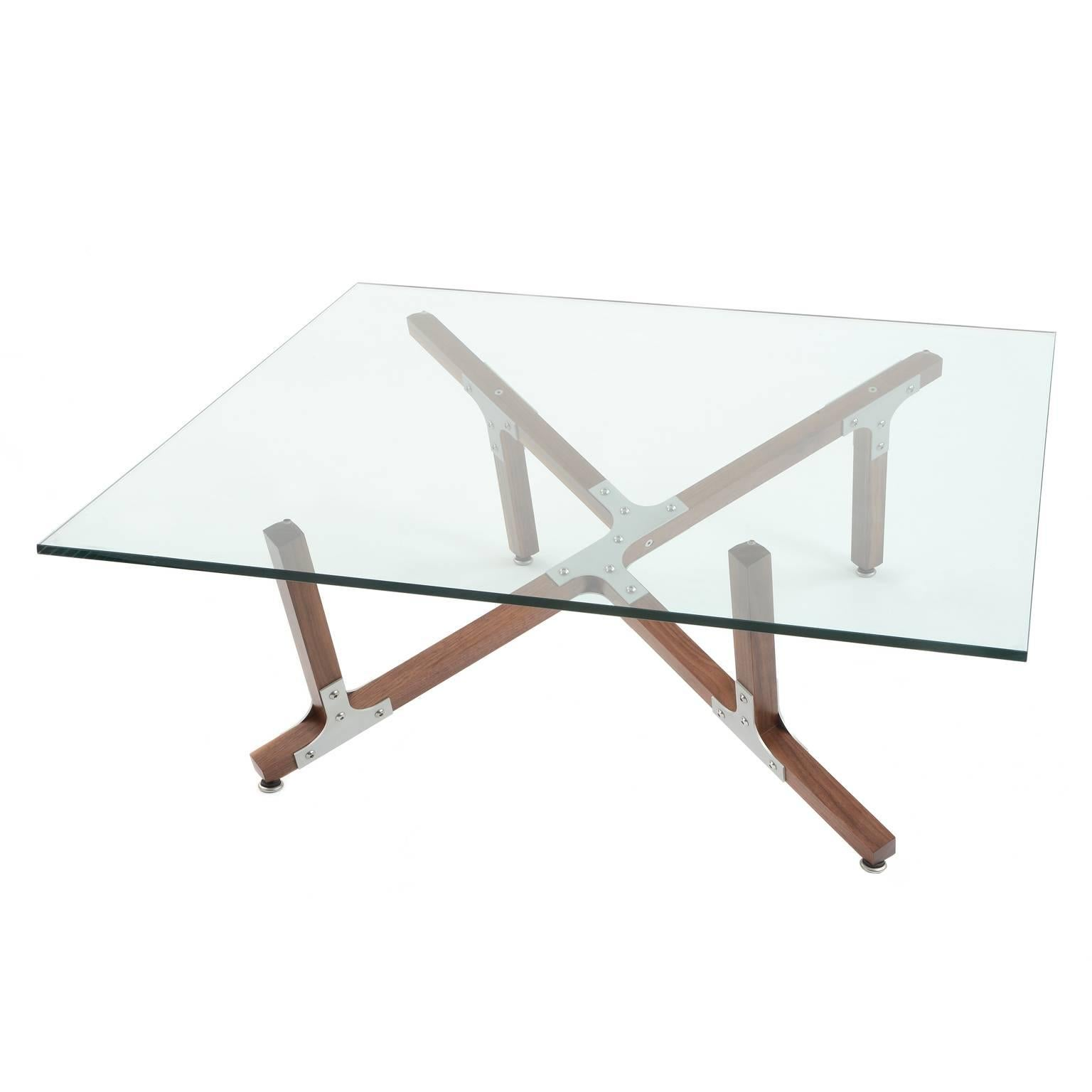 modern industrial coffee table with square glass top metal and walnut wood