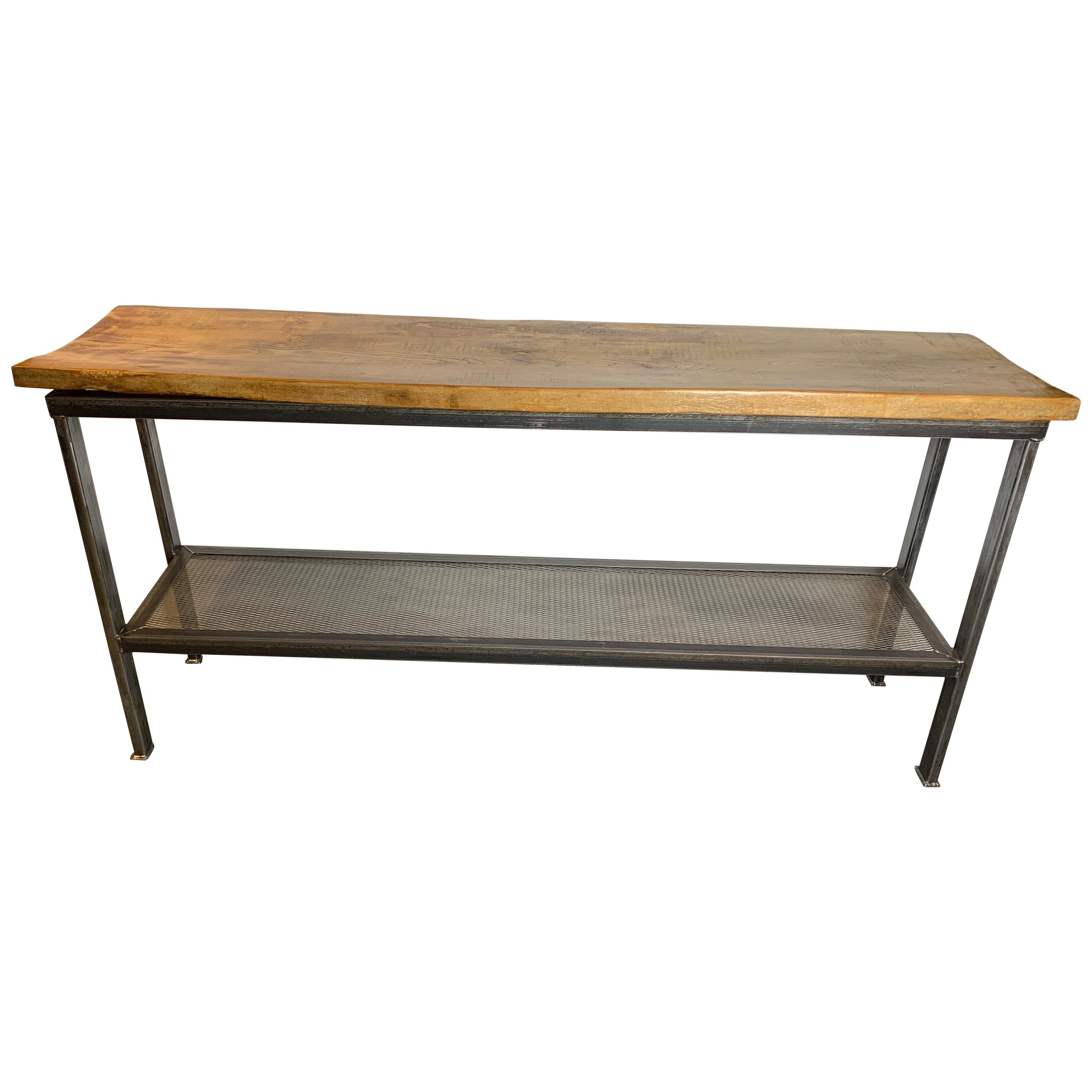 Industrial Reclaimed Wood And Metal Console Table