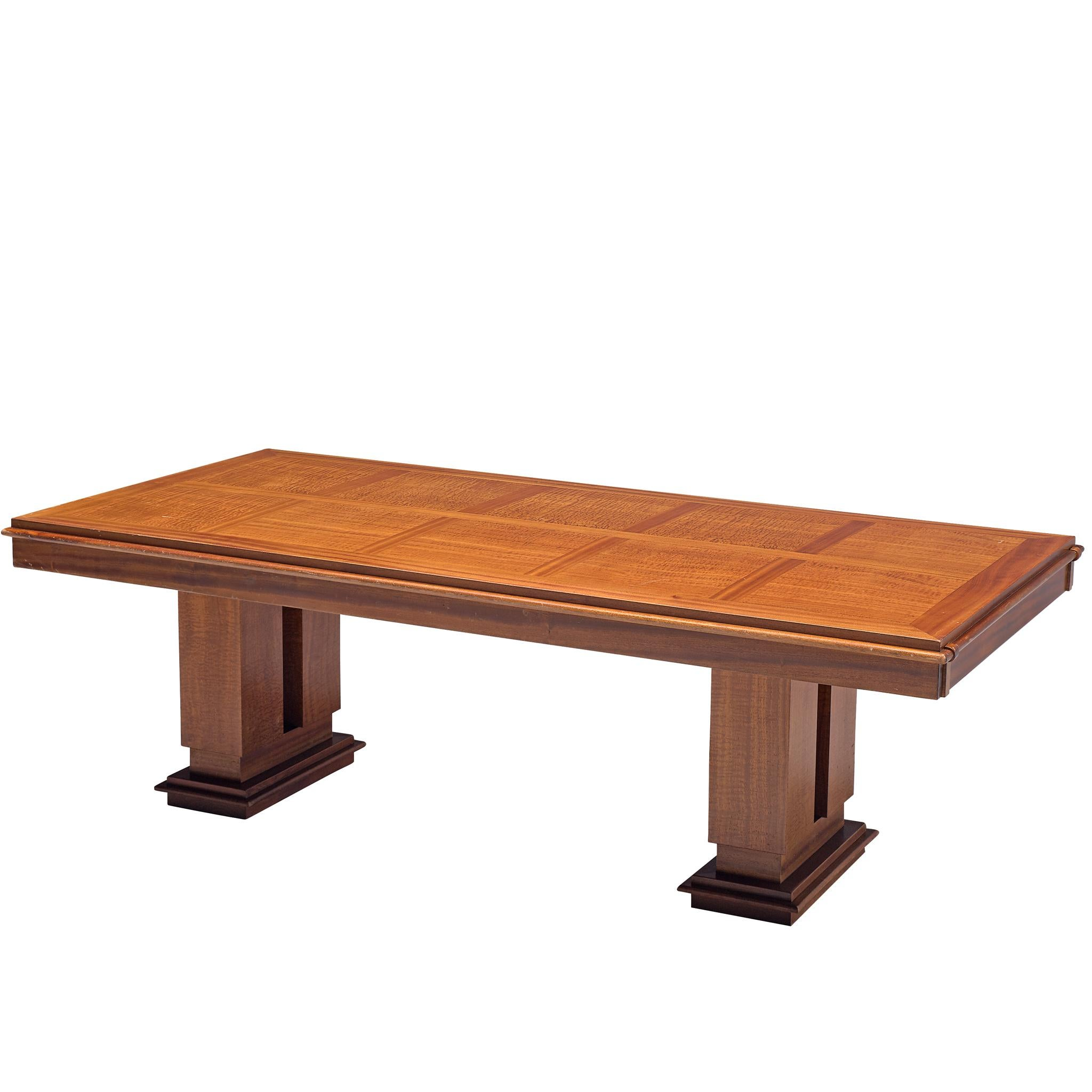large art deco table with wooden inlay tabletop