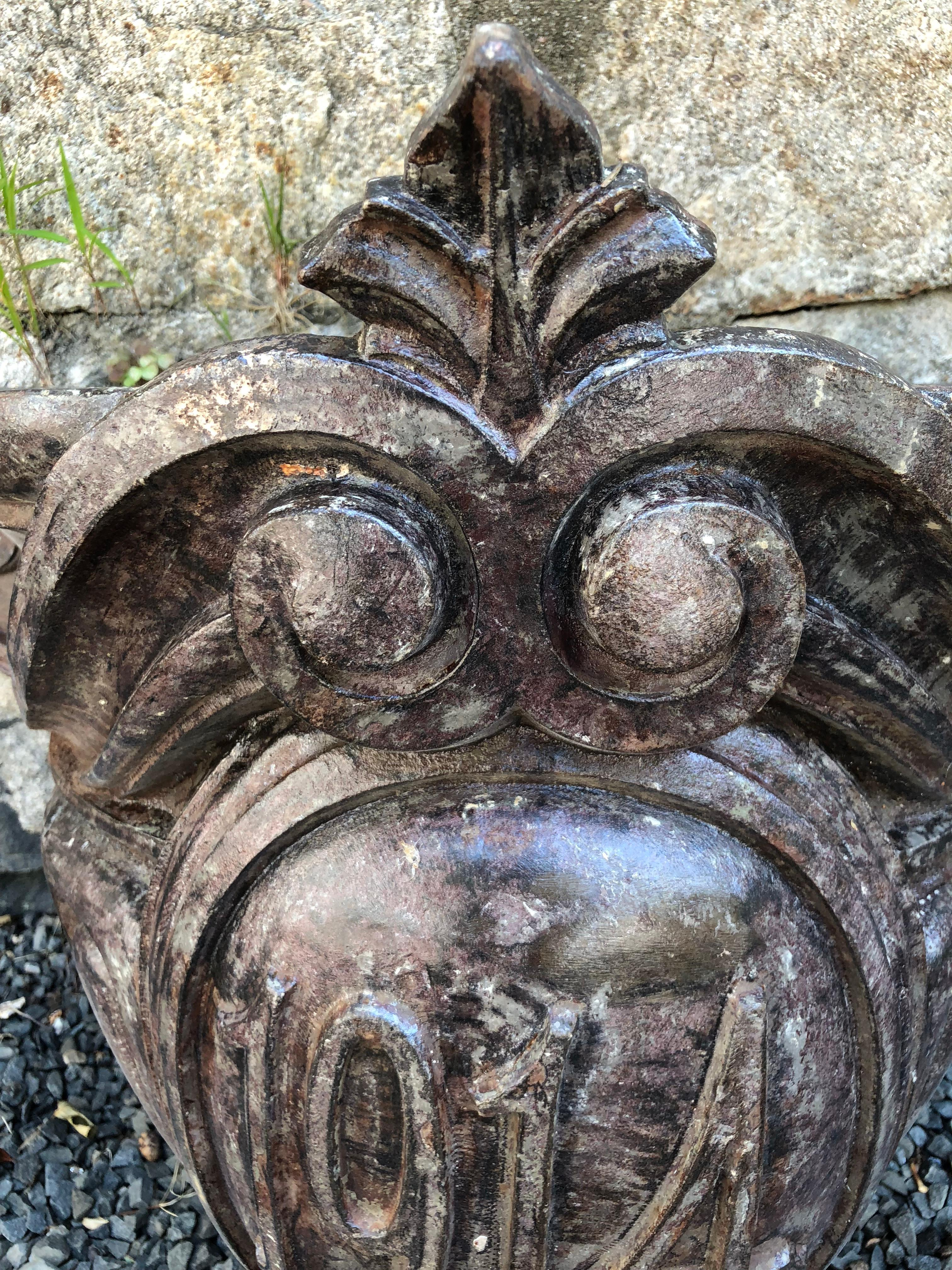 """Large English Cast Iron Wall Planter Dated """"1914"""" For Sale ... on Iron Wall Vases id=18833"""