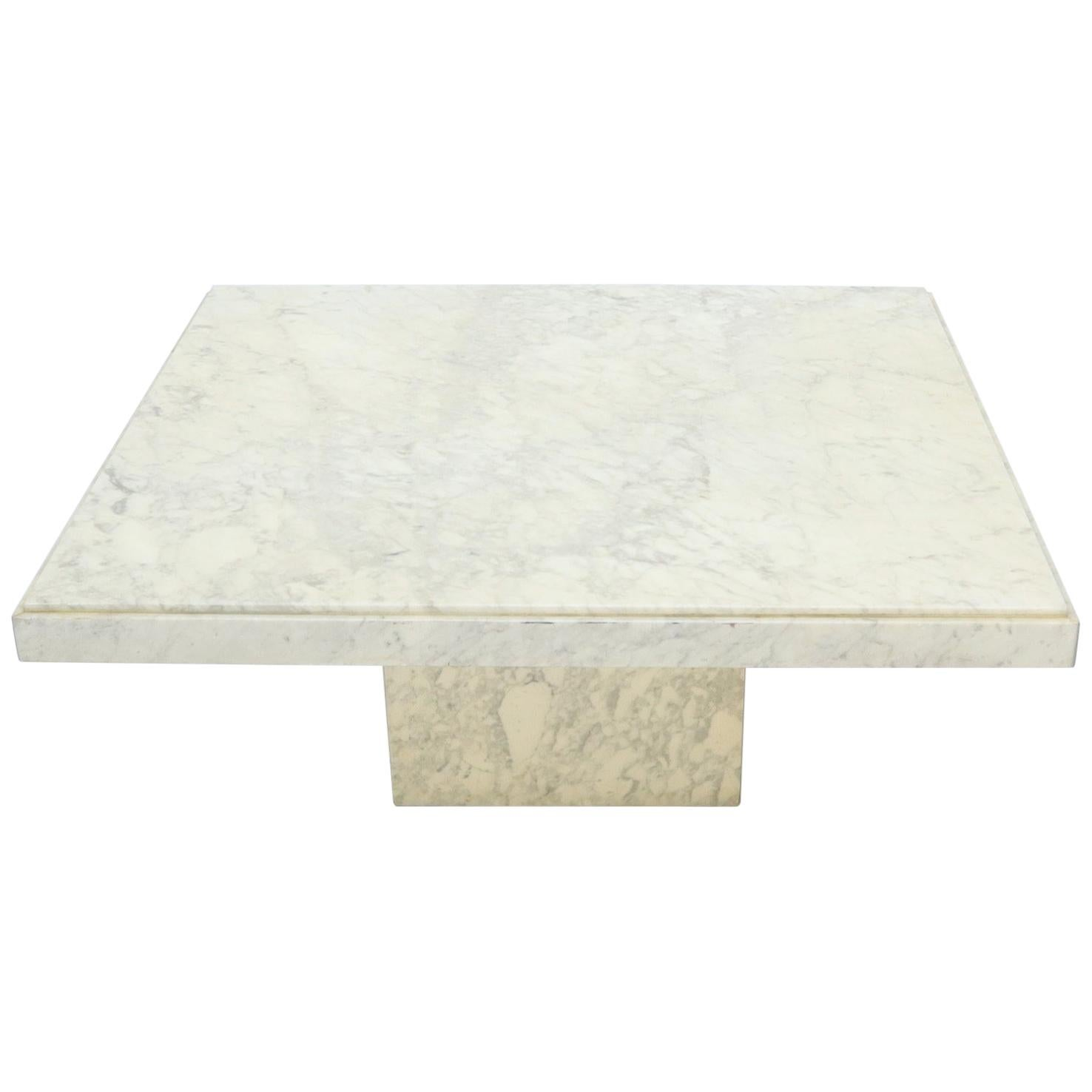large square white marble coffee table
