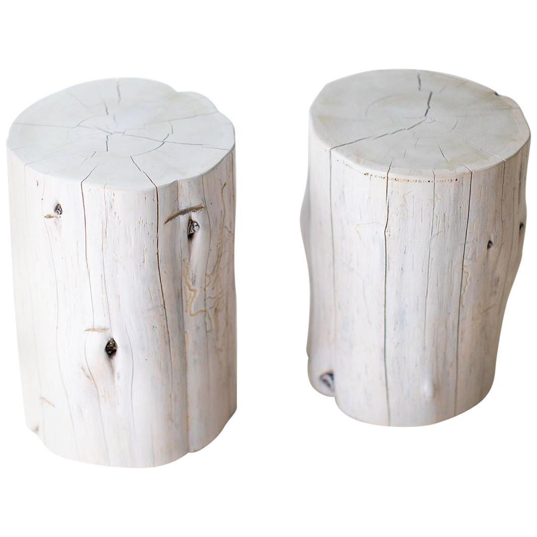 large tree stump side tables whitewash