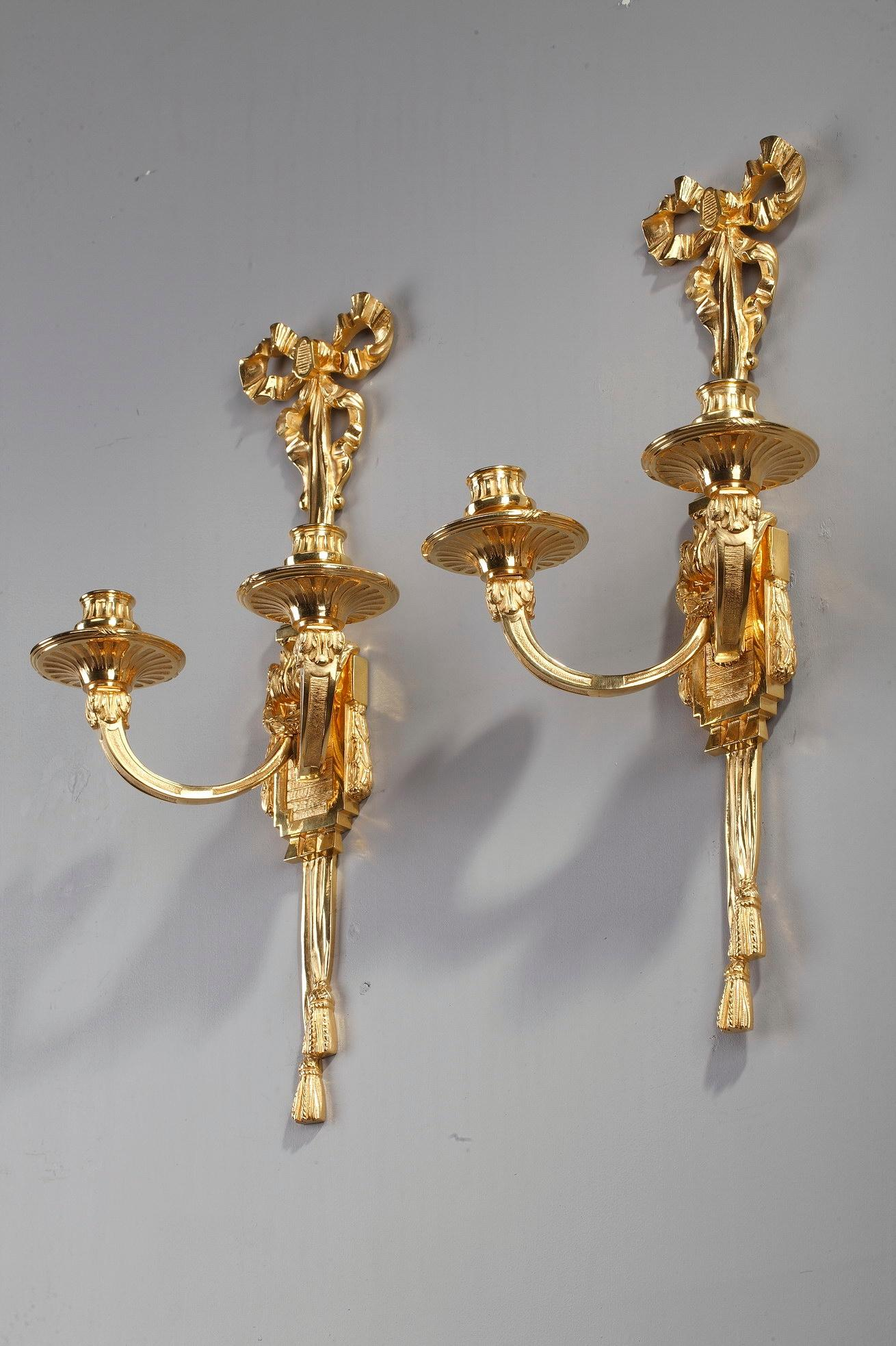 Late 19th Century Antique Candle Wall Sconces in Louis XVI ... on Antique Style Candle Holder Sconces id=63868