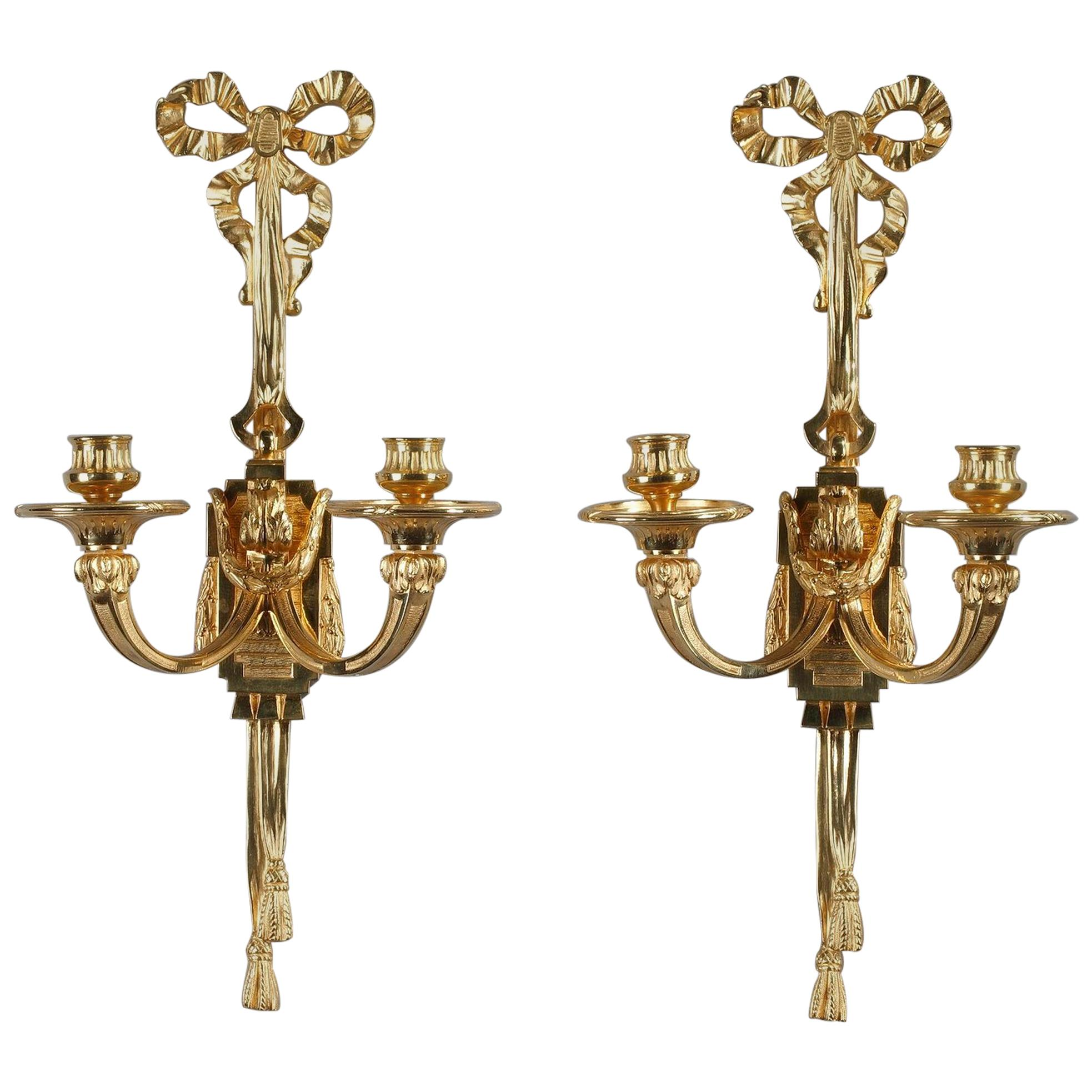 Late 19th Century Antique Candle Wall Sconces in Louis XVI ... on Antique Style Candle Holder Sconces id=30036