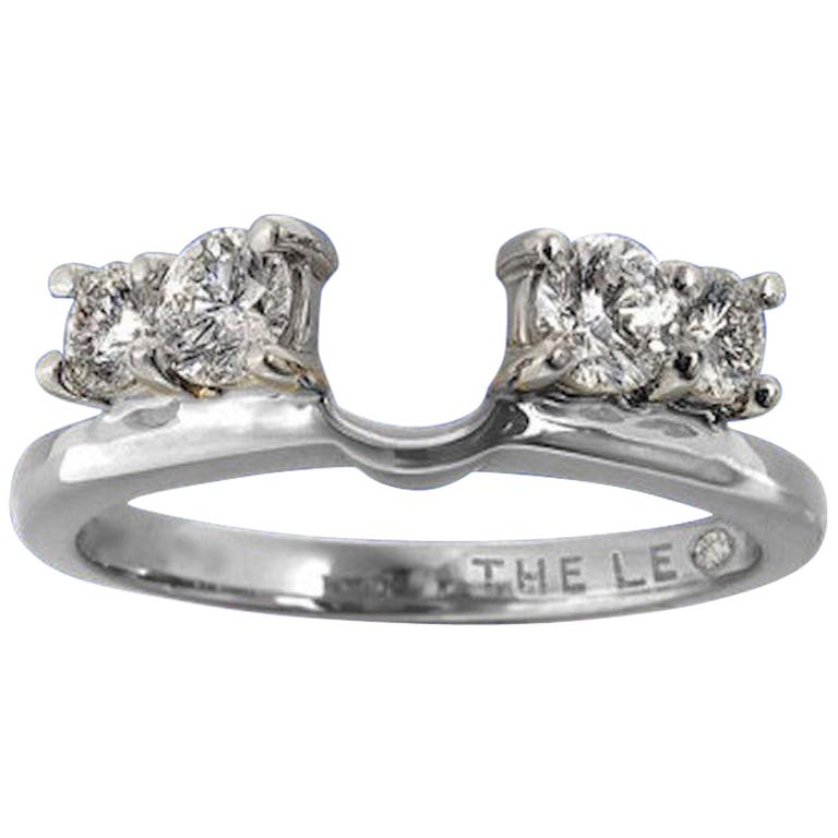 Leo Diamond Wedding Band 3 4 Tcw Enhancer Insert Ring 14k White Gold Round Cuts For Sale At 1stdibs