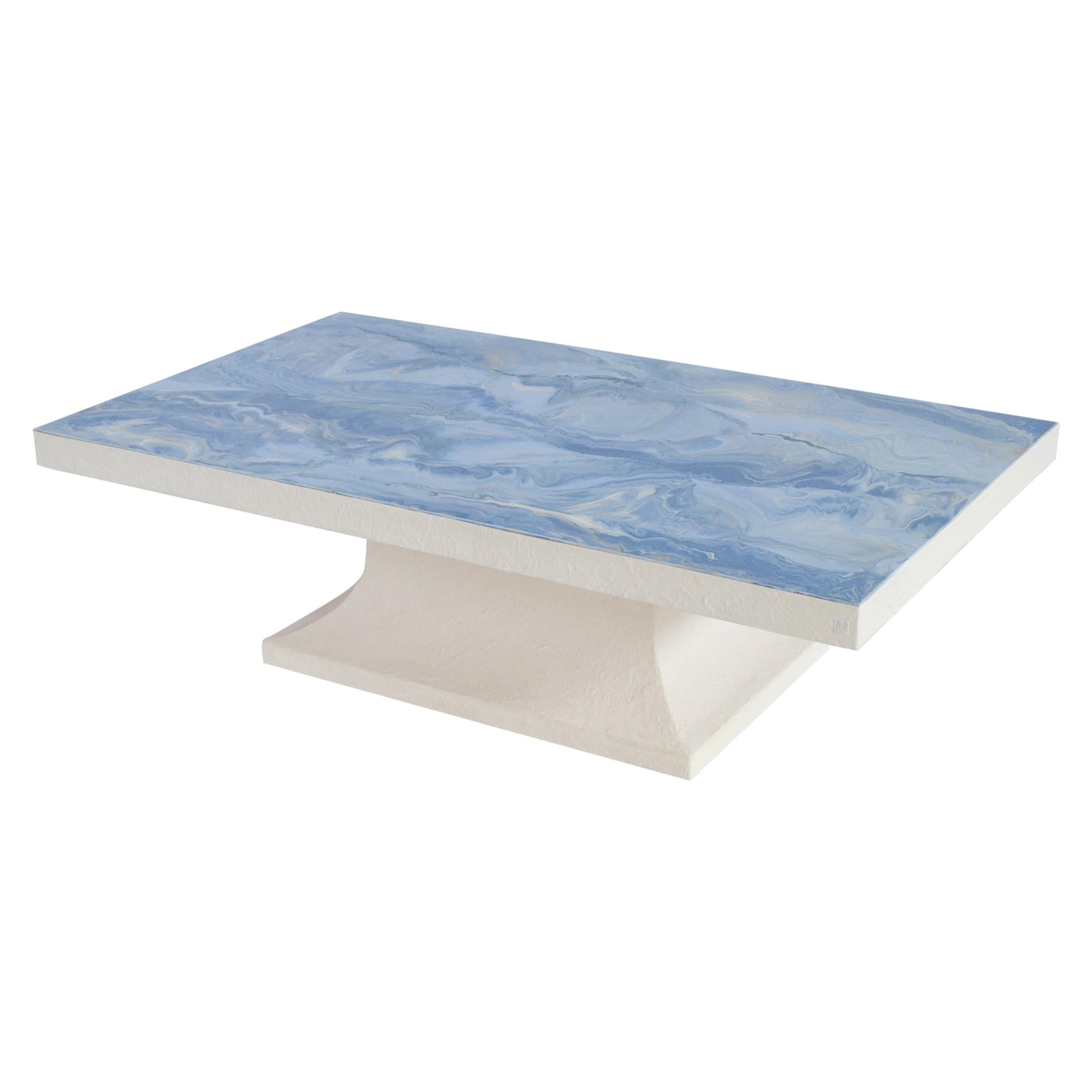 light blue coffee table marbled scagliola decorated top white wooden base