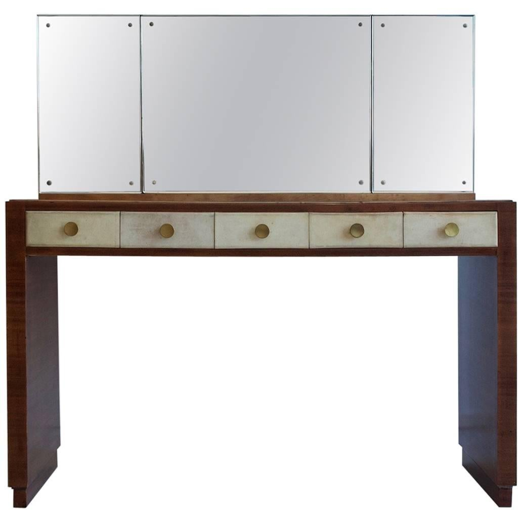 mahogany vanity table with mirror and a tabouret for sale