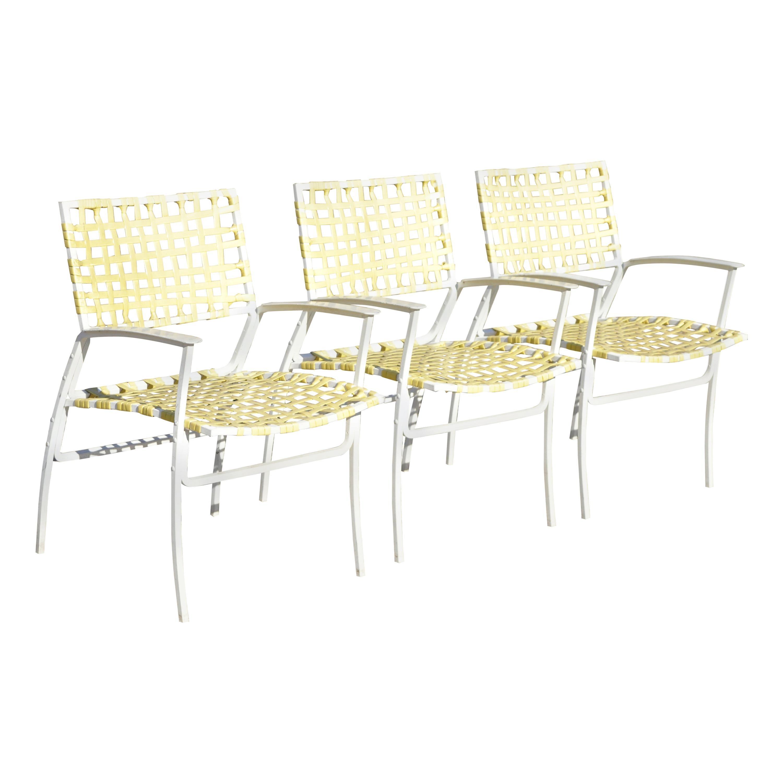 medallion aluminum yellow woven vinyl strap patio pool lounge chair 1 chair