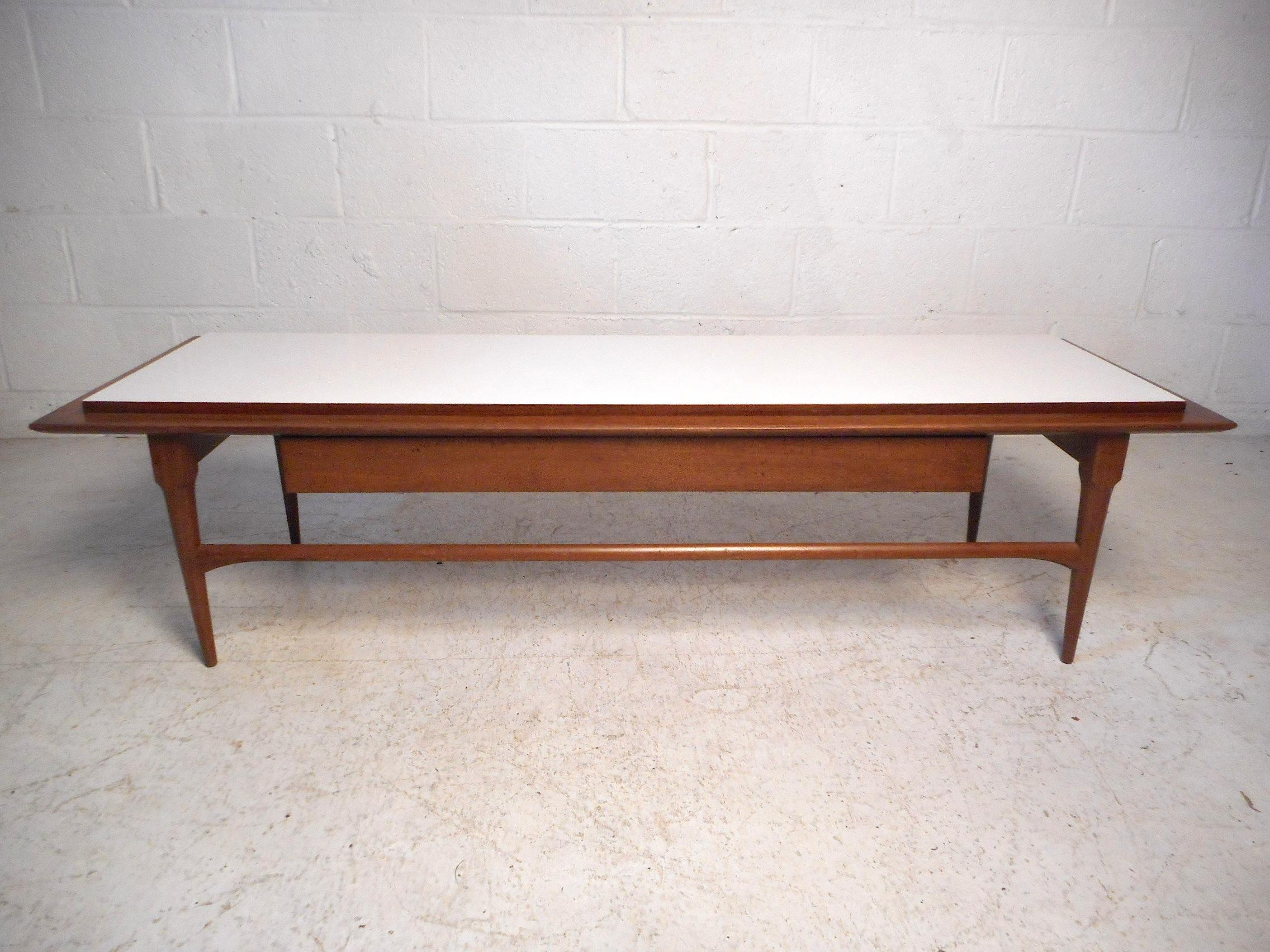 midcentury coffee table with white laminate top