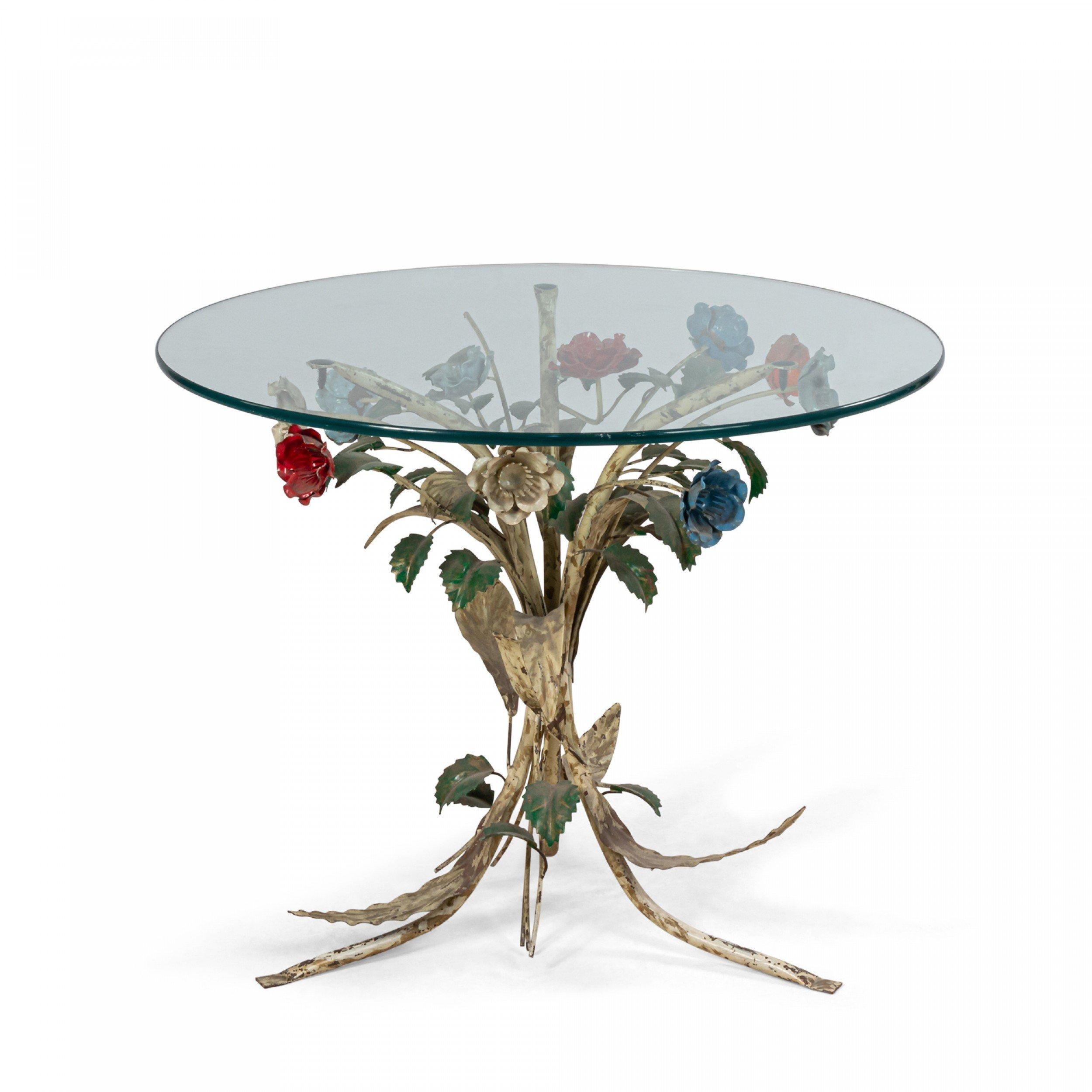 midcentury metal floral base round coffee table