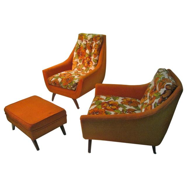 Mid-Century Modern His and Hers Lounge Chairs with Ottoman ...