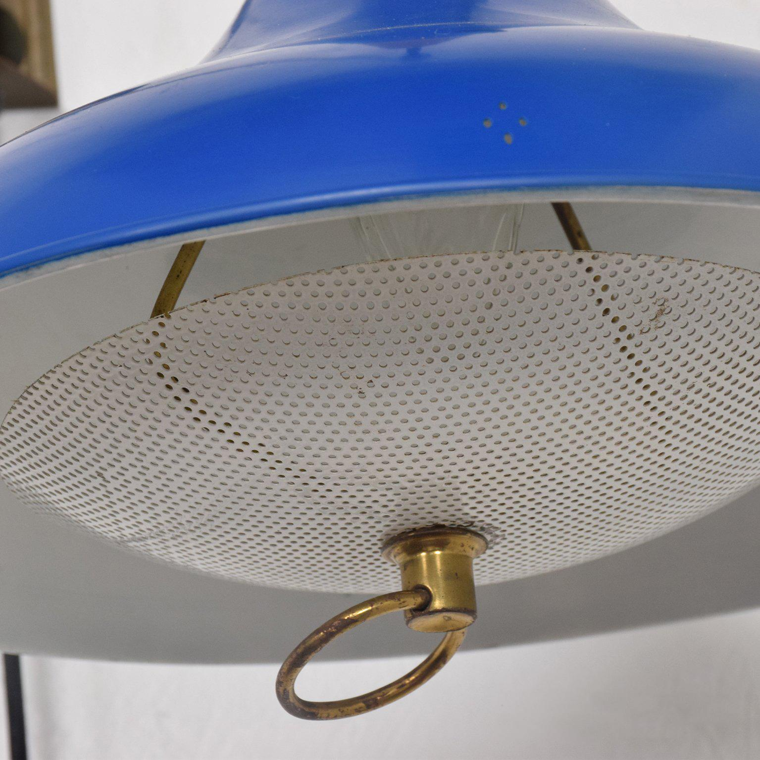 Mid-Century Modern Wall Sconce with Blue Oversize Shade ... on Mid Century Modern Sconces id=85751