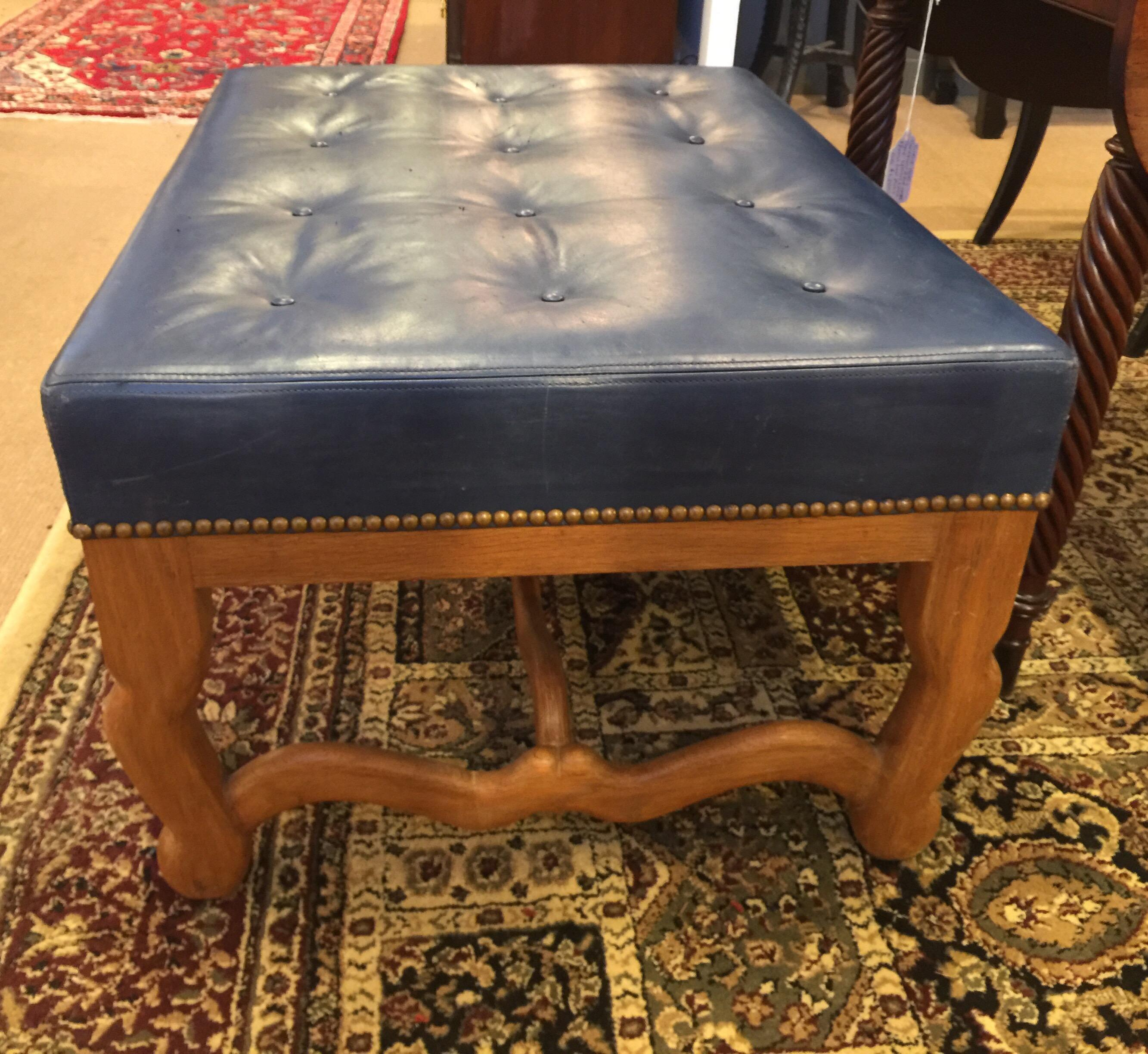 midcentury dark blue large leather ottoman by baker