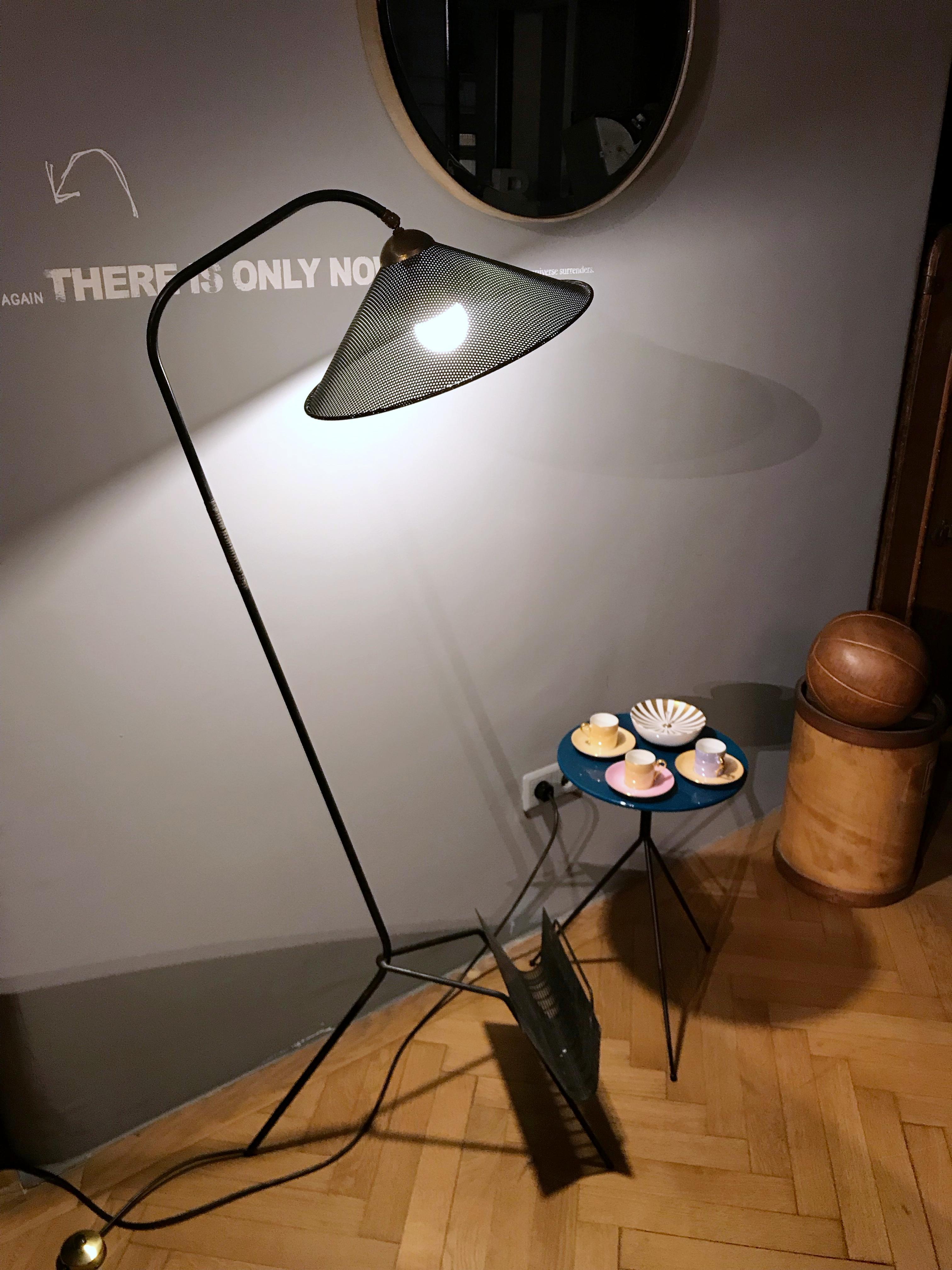 midcentury modern mathieu mategot magazine rack floor lamp 1950s france