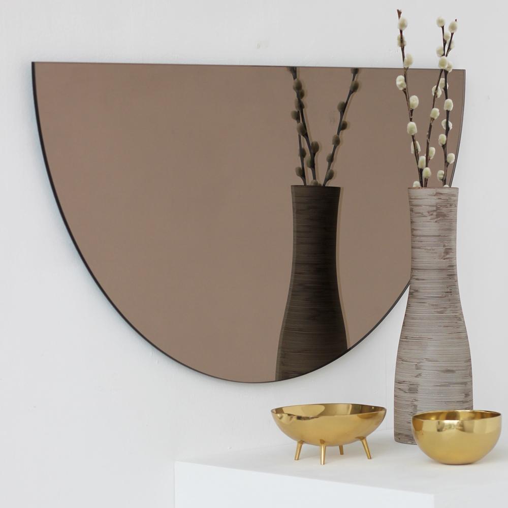 Minimalist Bronze Tinted Bathroom Wall Mirror Frameless ...