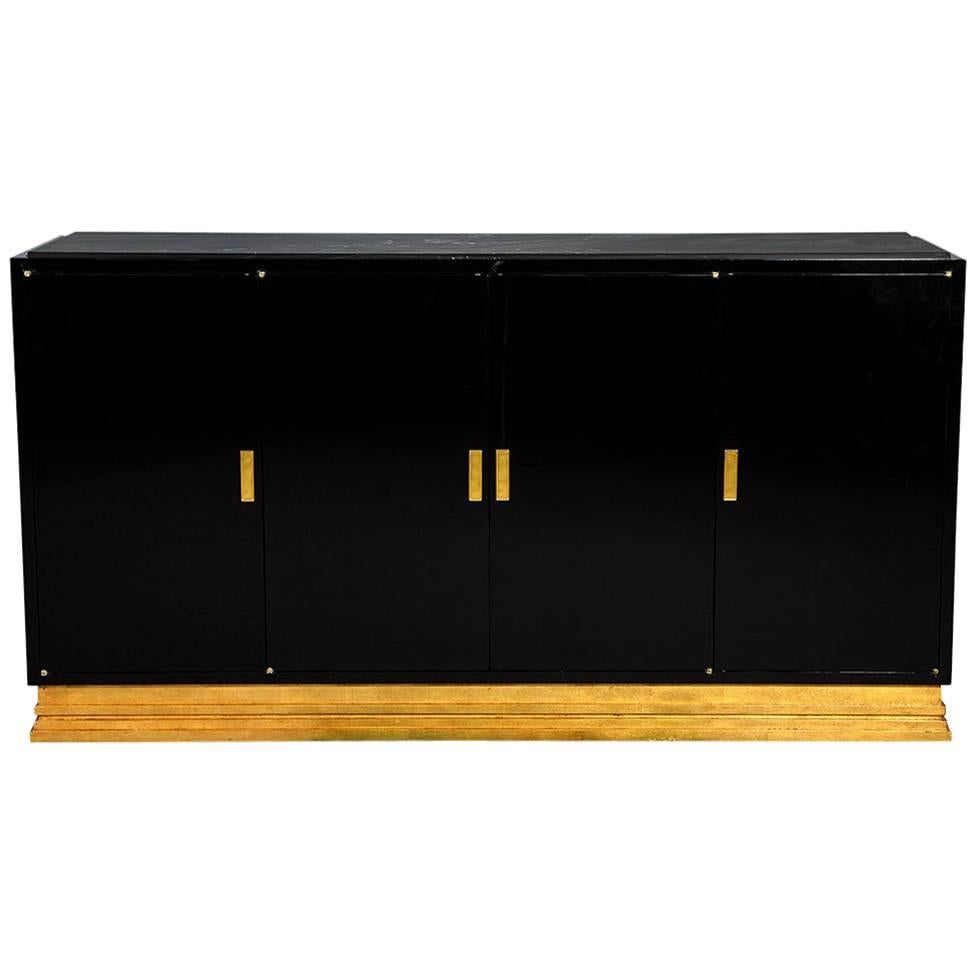 Modern Gold Leaf And Black Lacquer Buffet Console Cabinet With Stone Top For Sale At 1stdibs