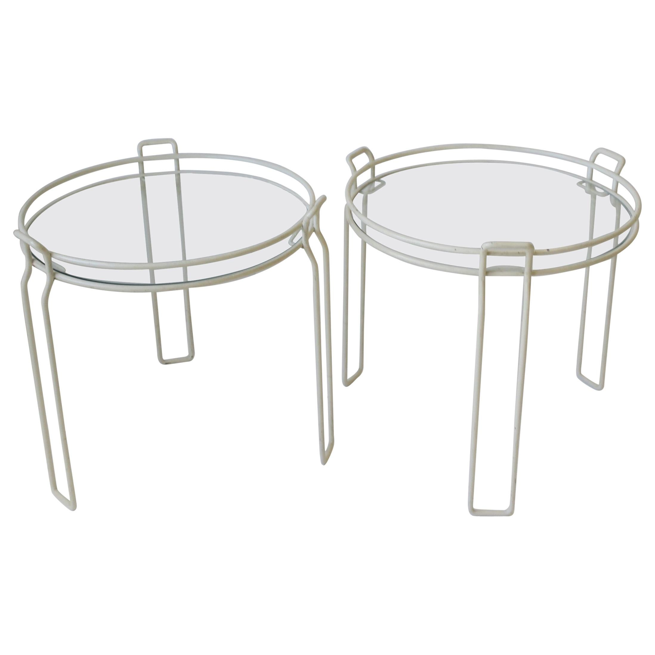 modern white glass side nesting or stacking tables