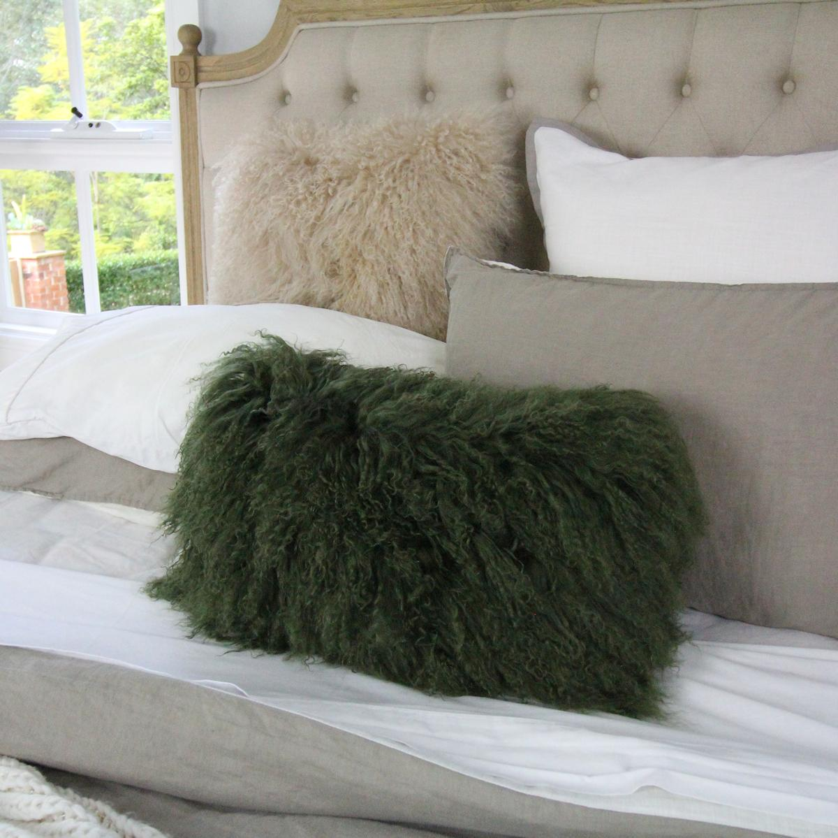 mongolian fur pillow lumbar olive green custom make other sizes and colors