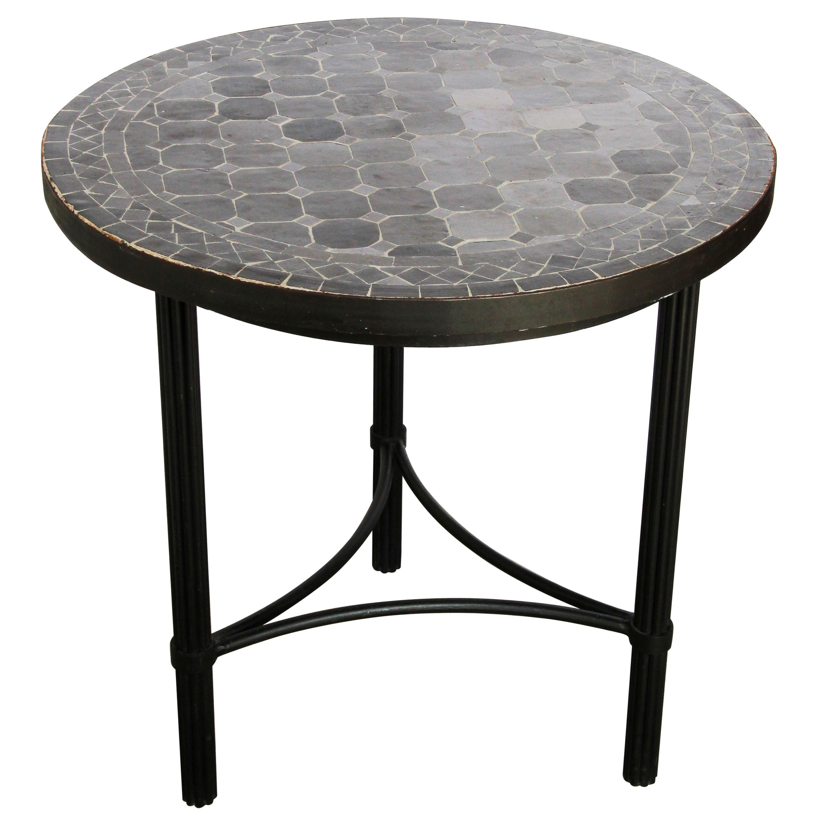 moroccan mosaic black color bistro tile table