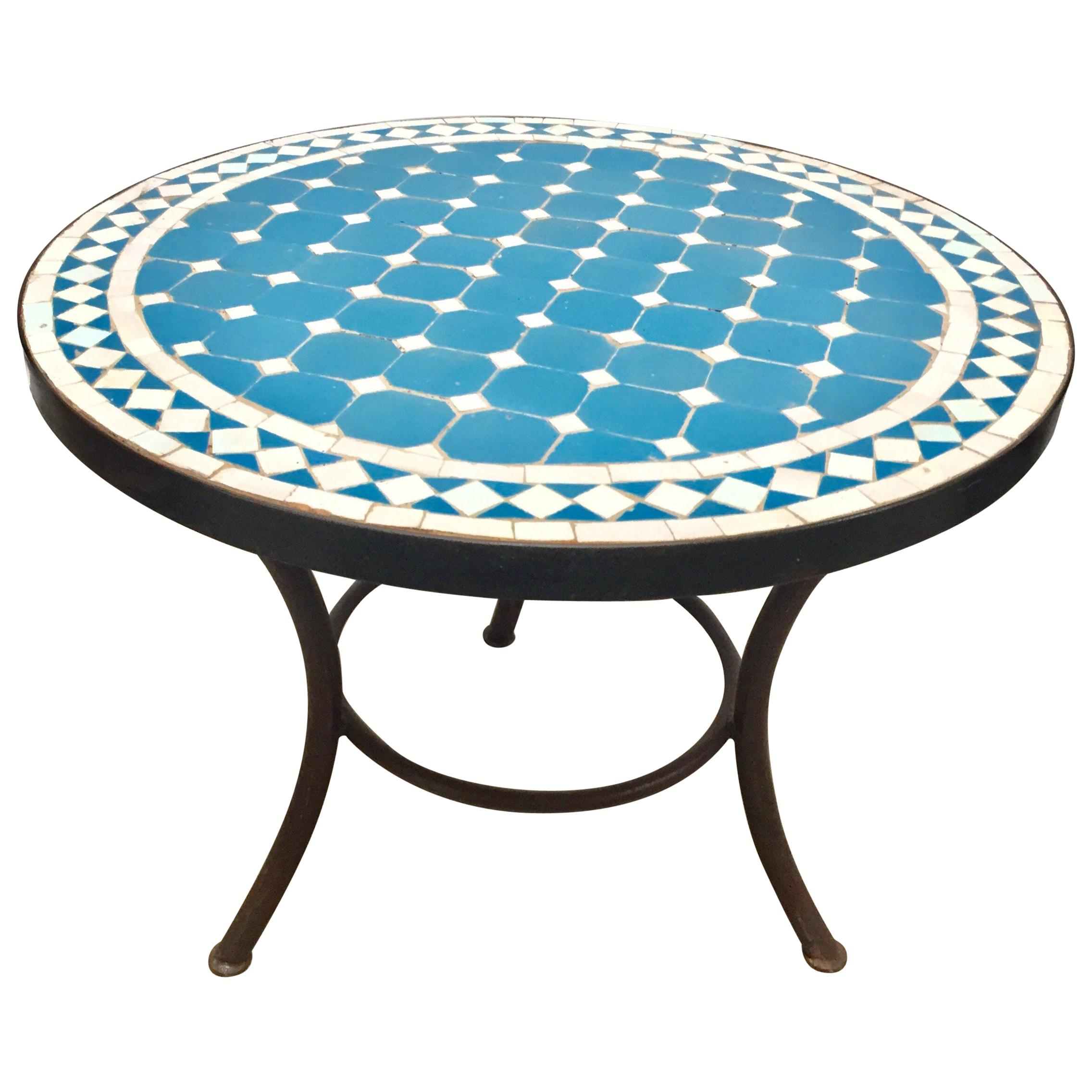 Moroccan Mosaic Outdoor Blue Tile Side Table on Low Iron ... on Outdoor Living Iron Mosaic id=28505