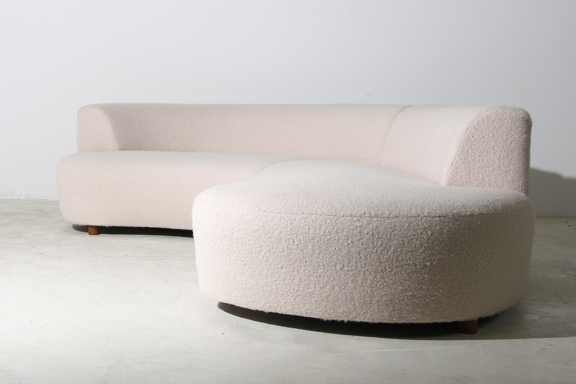 nathan lindberg modular curved sofa with teddy fur boucle and pinewood legs no 2
