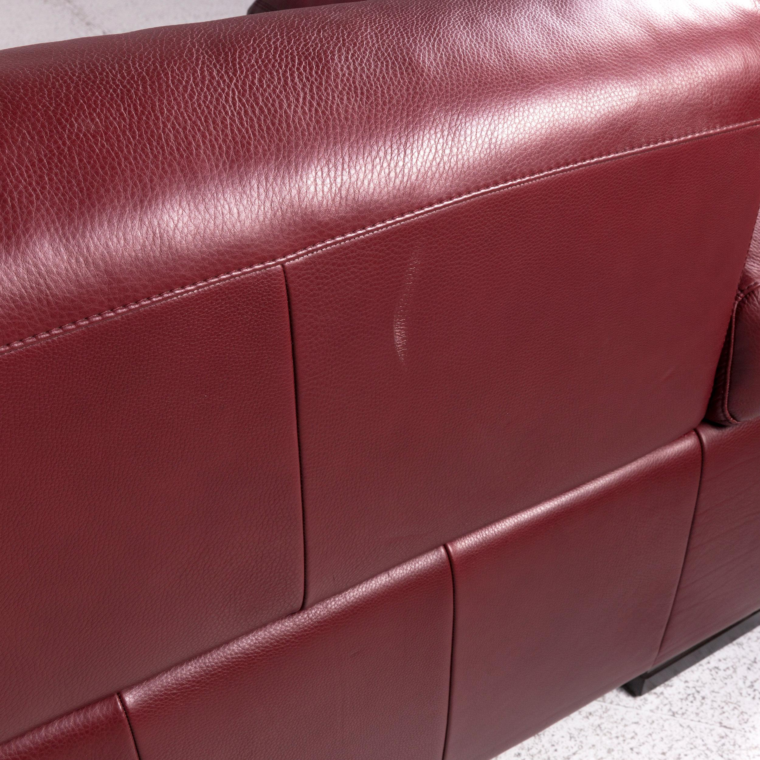 Wilhelmine 103.5 wide faux leather sofa & chaise with ottoman. Natuzzi Leather Corner Sofa Bordeaux Red Sofa Couch For ...