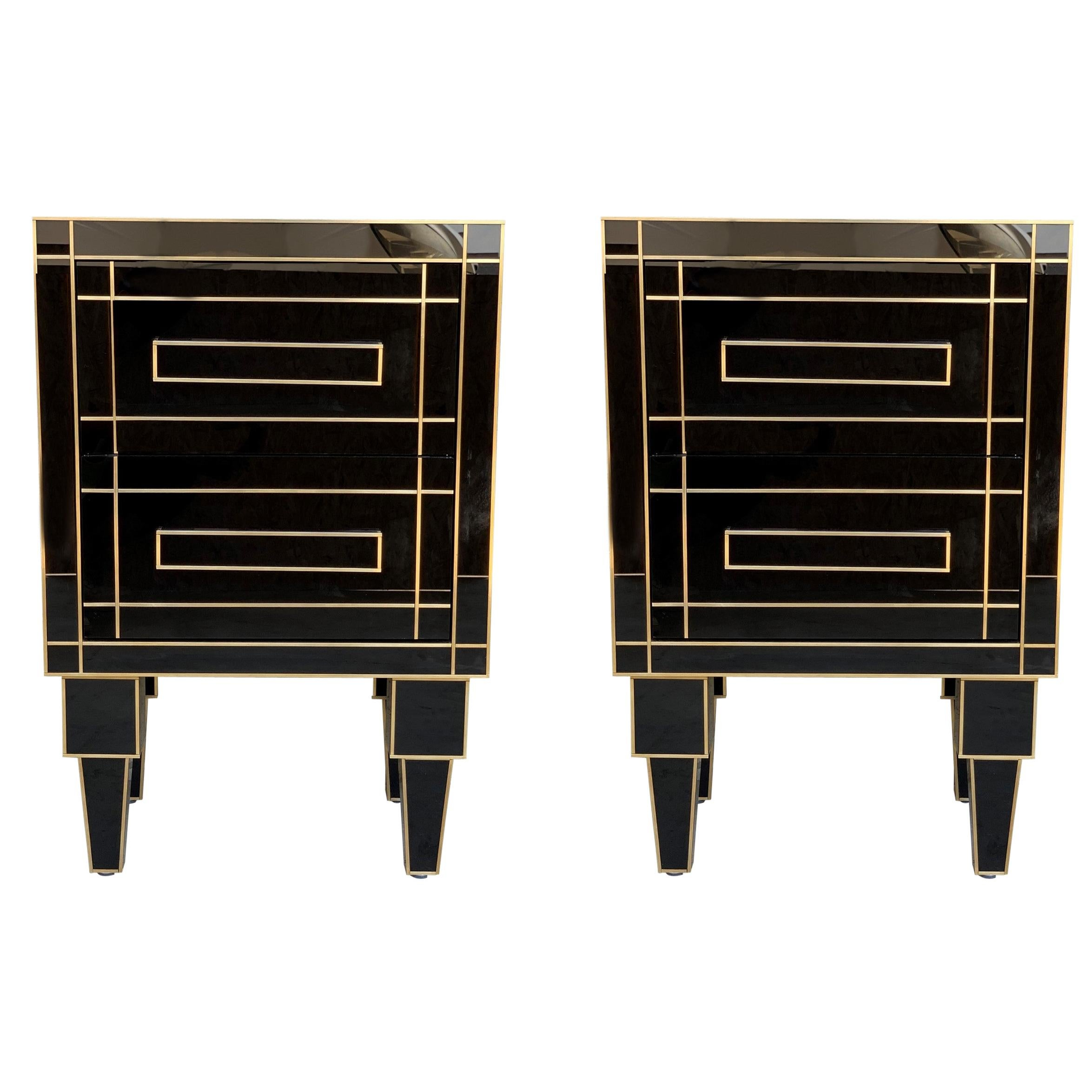 new pair of mirrored nightstands in black mirror with two drawers