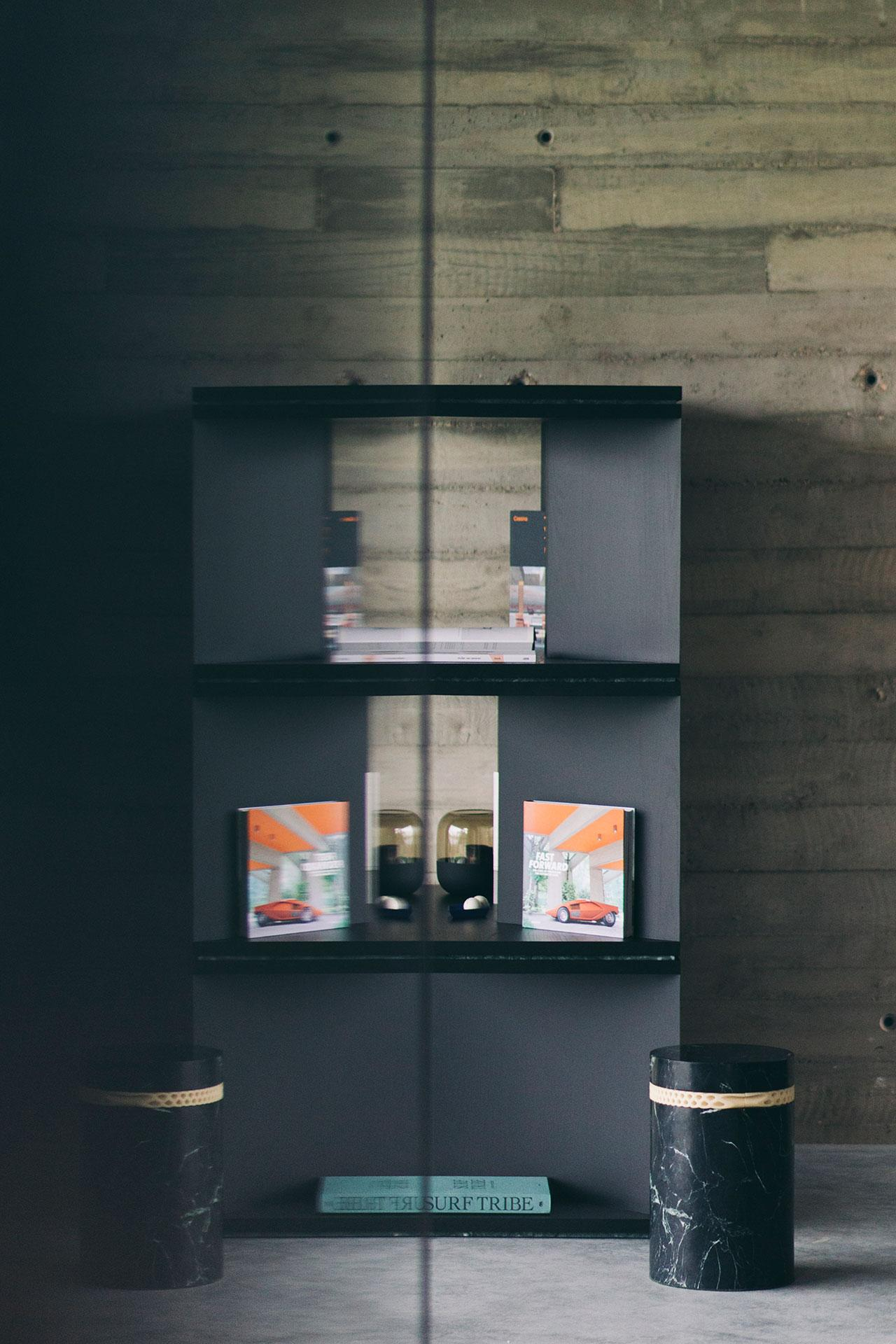 Contemporary Black Ash Wood Room Divider And Bookcase Oblique 01 1 By Barh