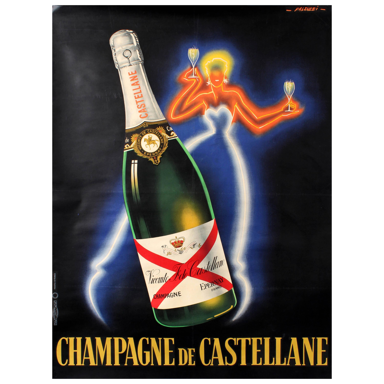 original vintage champagne de castellane poster by falcucci neon design drink