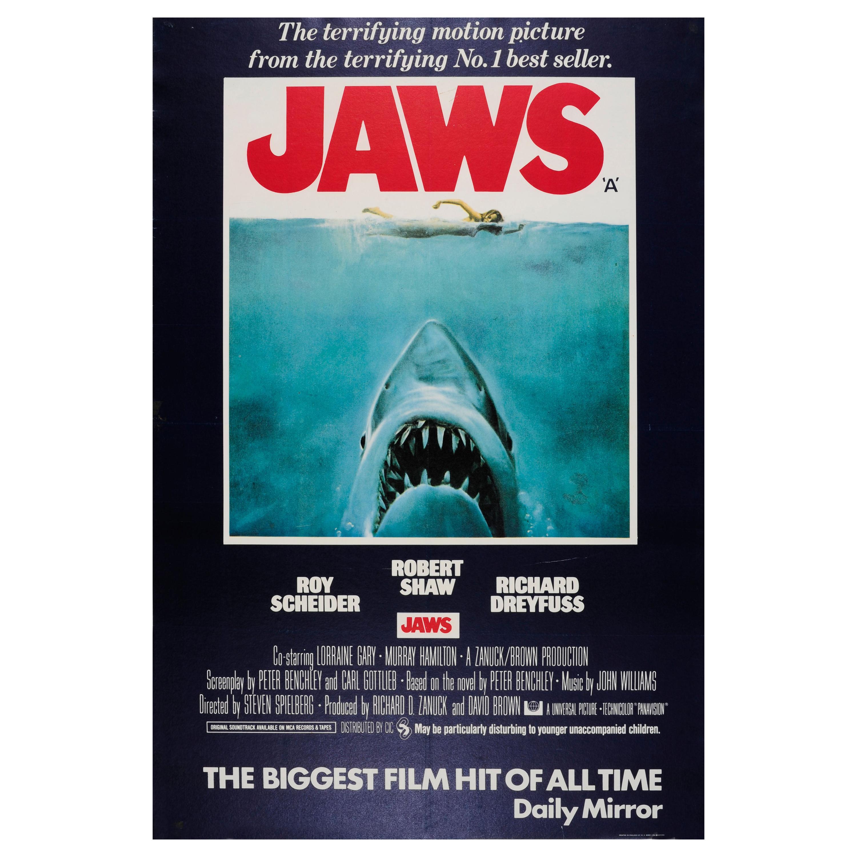 original vintage steven spielberg movie poster jaws iconic design shark swimmer